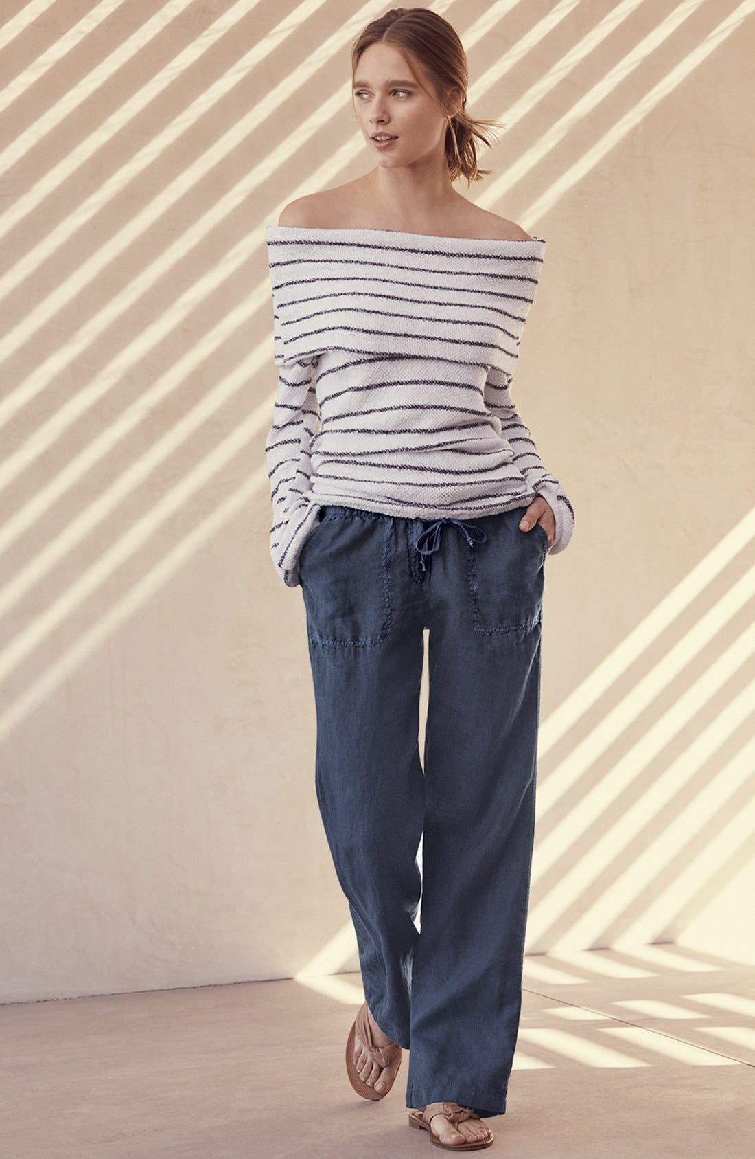 Convertible Off the Shoulder Pullover,                             Alternate thumbnail 2, color,                             White- Navy Stripe