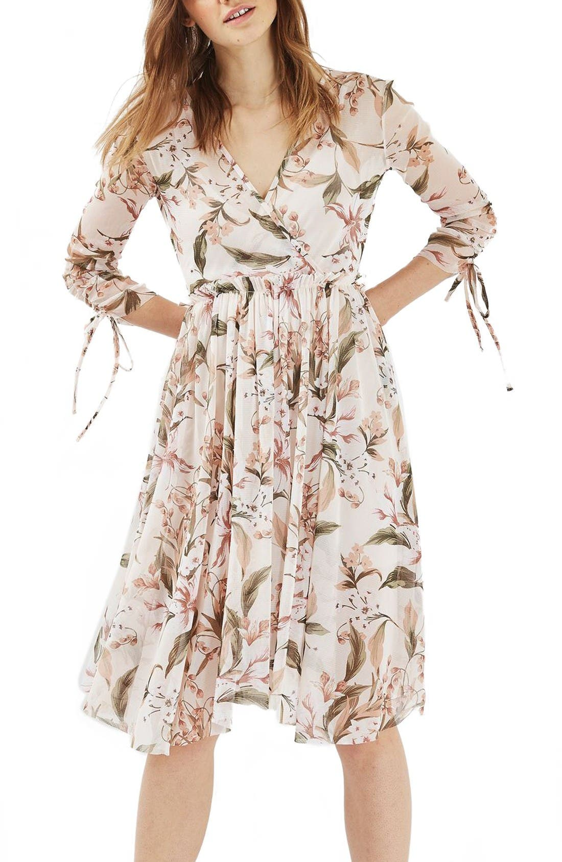 Lily Floral Mesh Dress,                         Main,                         color, Ivory Multi