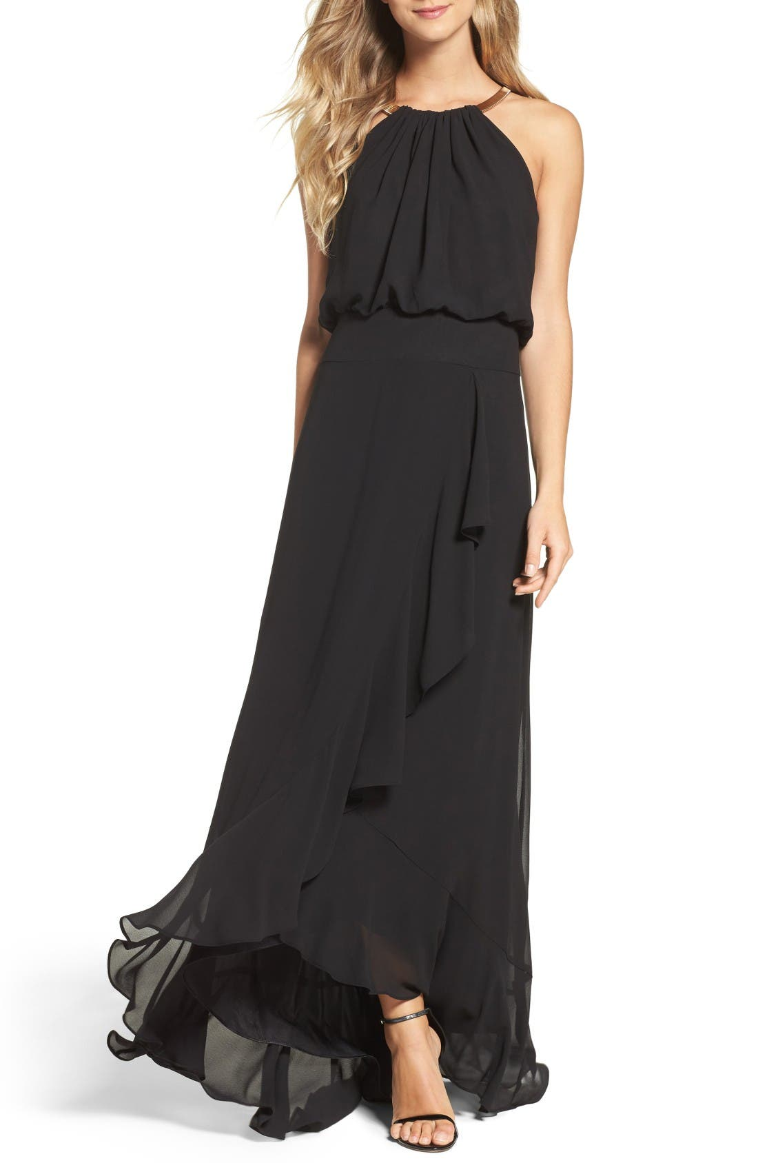 Chiffon Ruffle Gown,                             Main thumbnail 1, color,                             Black