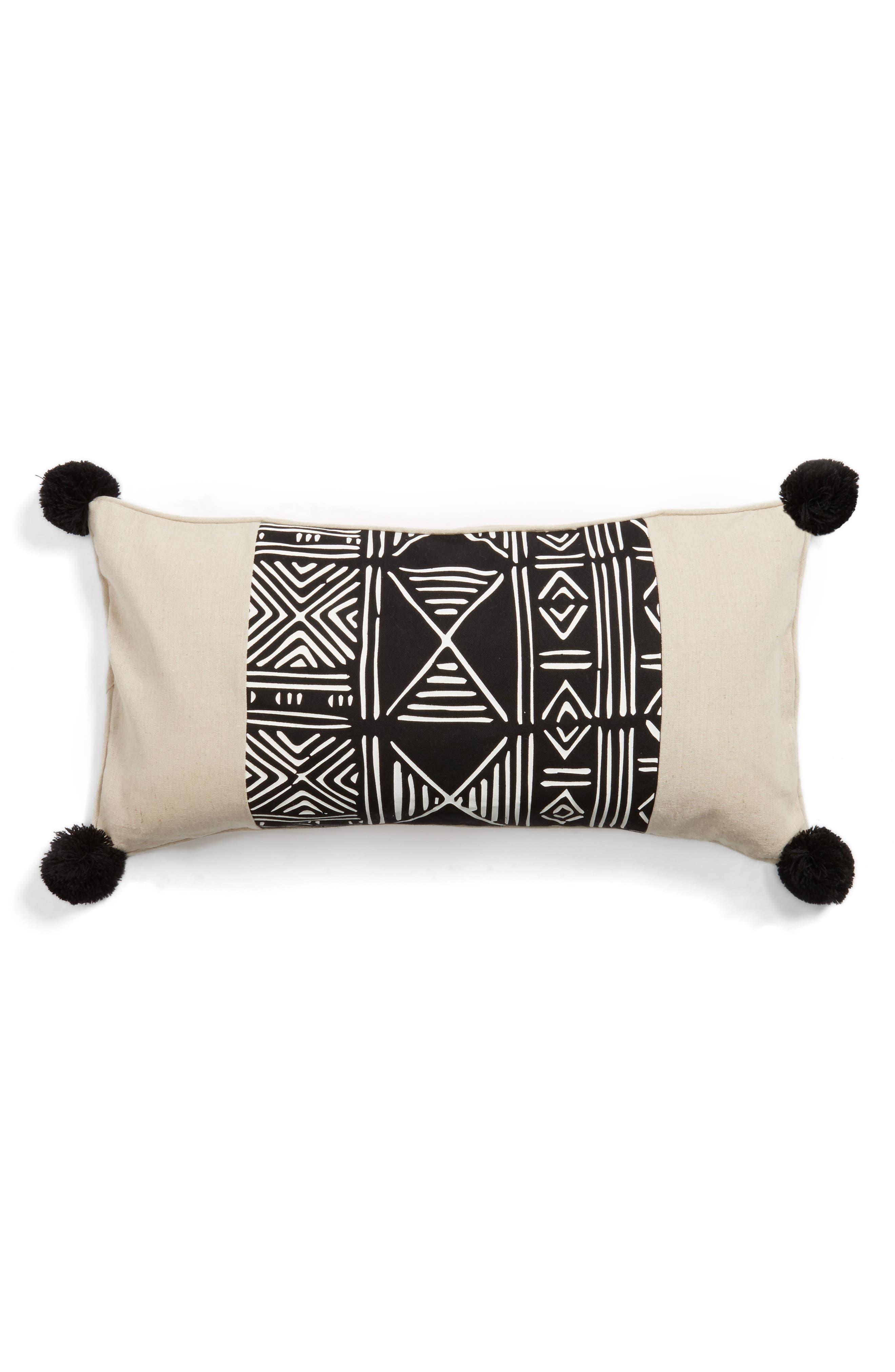 Tali Pom Decorative Pillow,                         Main,                         color, Black/ White