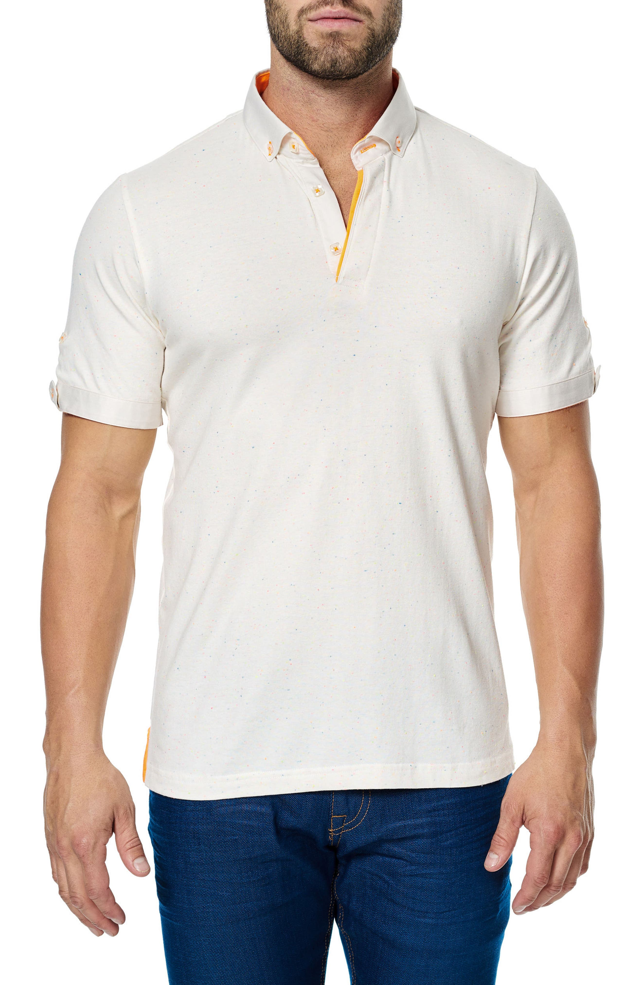 Woven Trim Polo,                             Main thumbnail 1, color,                             Solid White