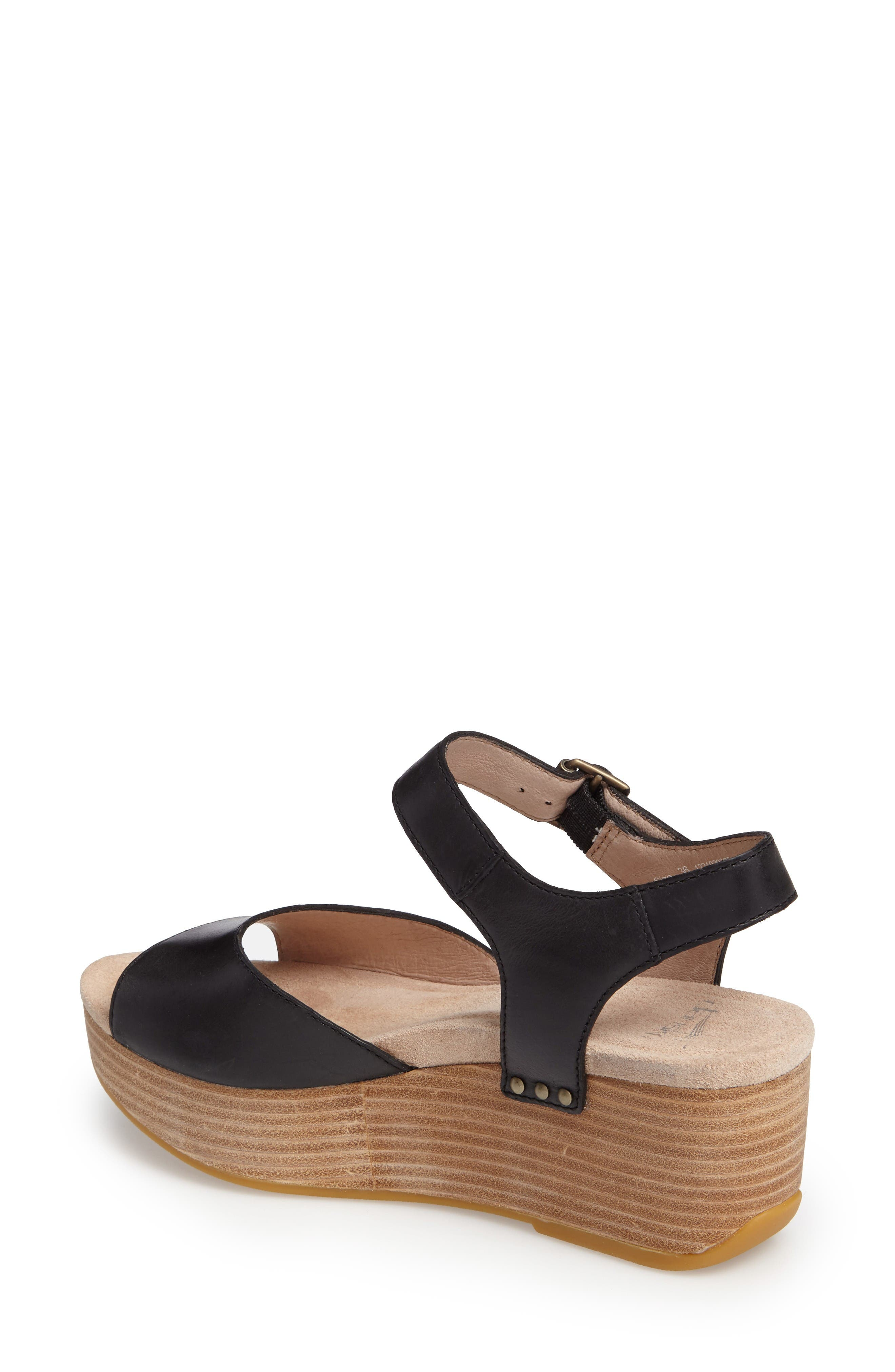 Silvie Platform Wedge Sandal,                             Alternate thumbnail 2, color,                             Black Leather