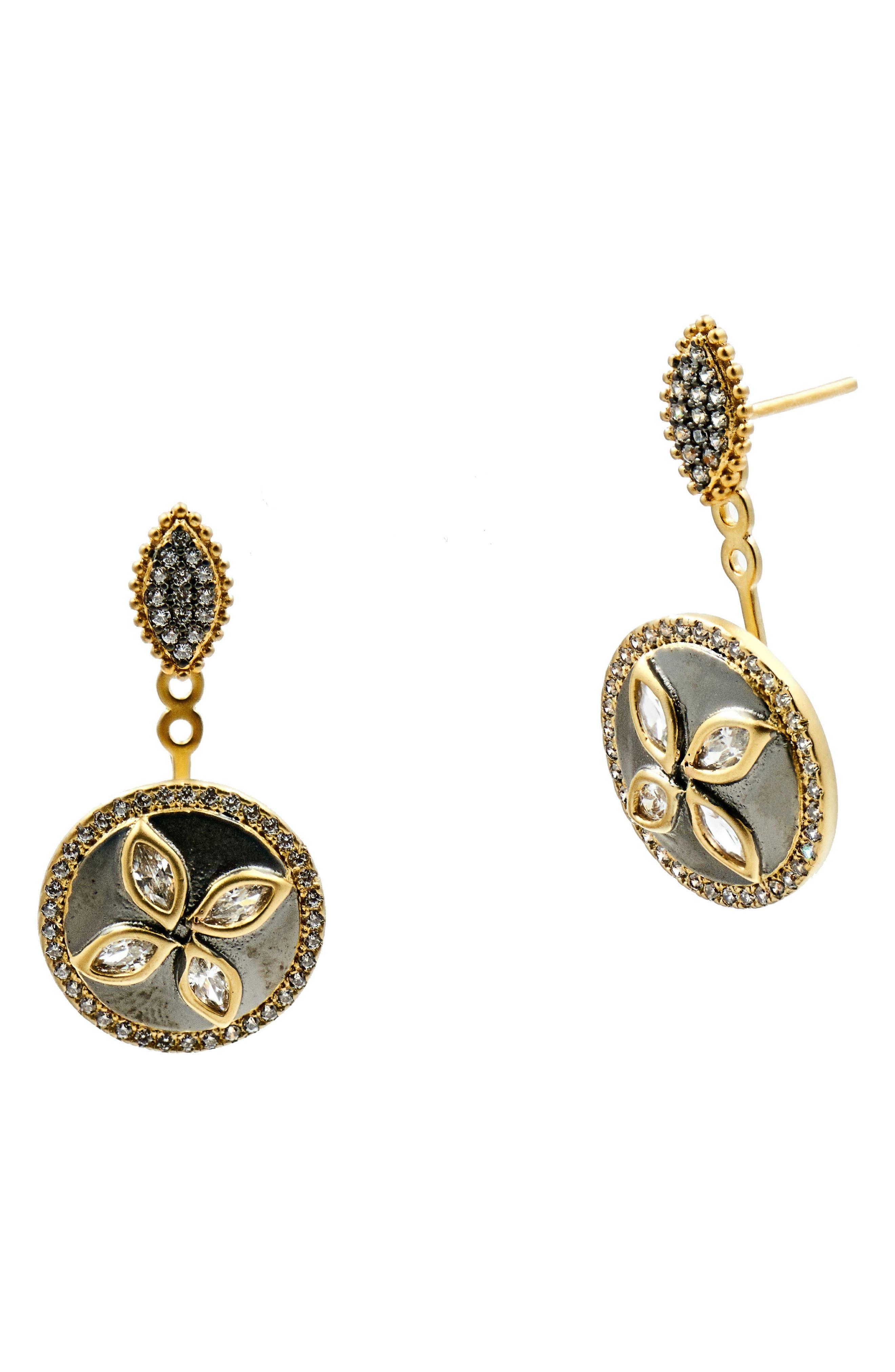 Fleur Bloom Drop Back Earrings,                         Main,                         color, Gold/ Black Rhodium