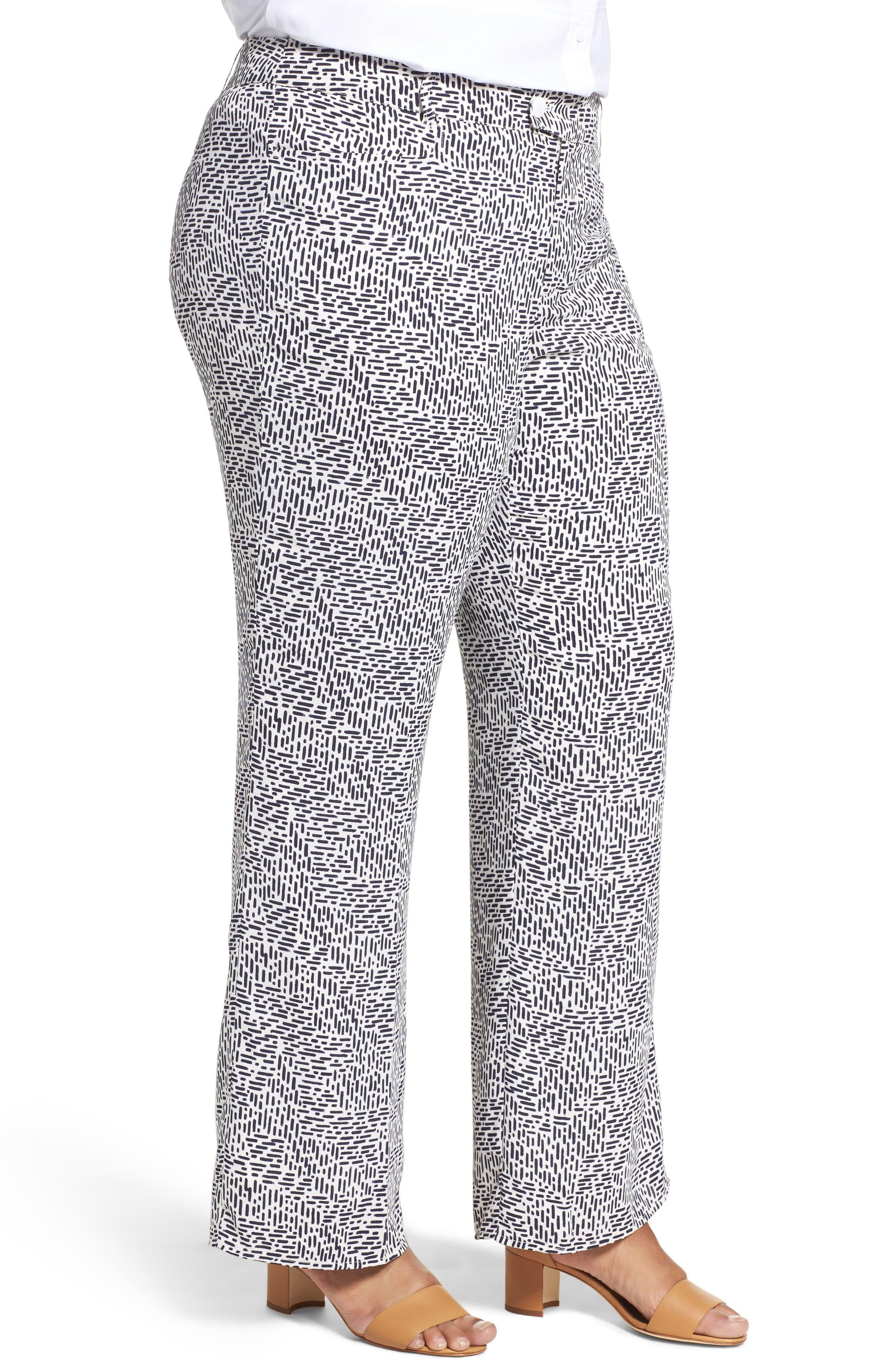 Dots & Dashes Flare Leg Pants,                             Alternate thumbnail 3, color,                             White/ Navy