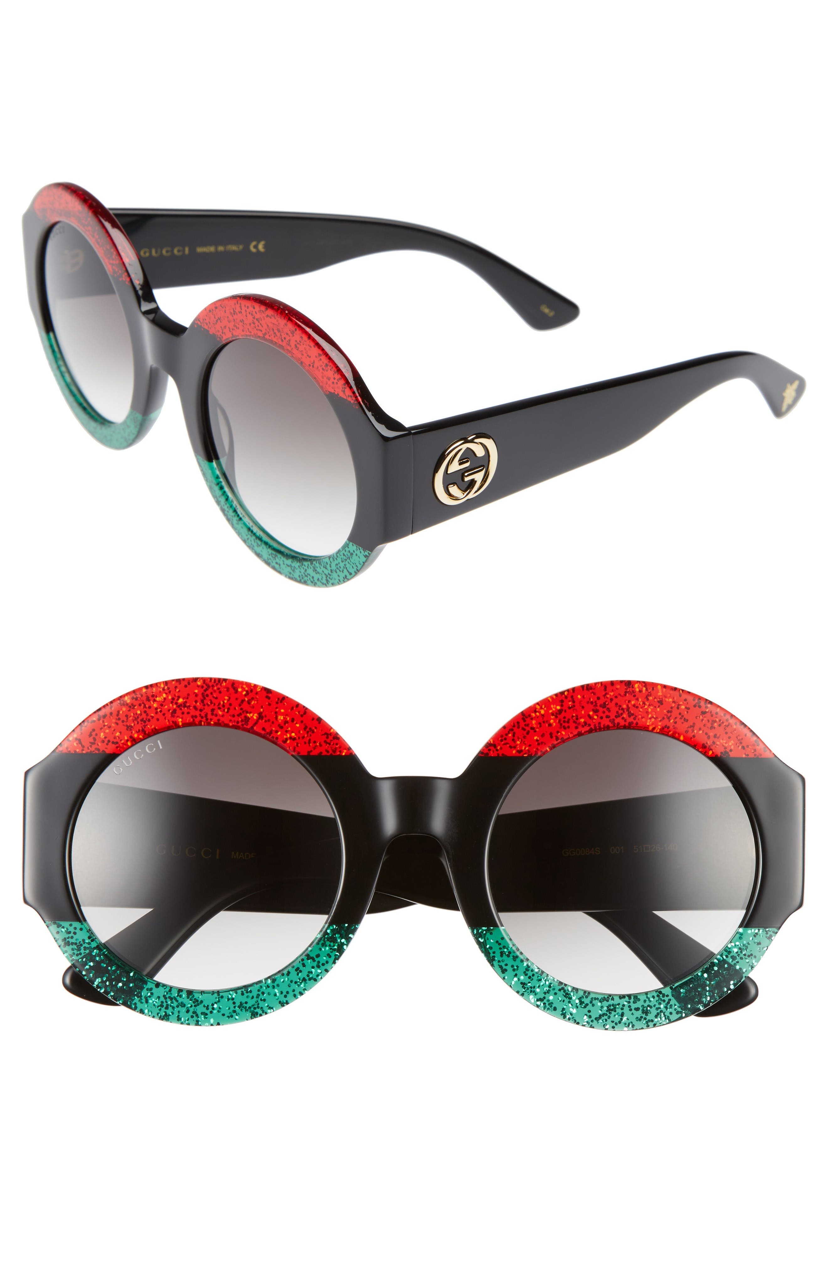 51mm Round Sunglasses,                             Main thumbnail 1, color,                             Red Black Green/ Grey