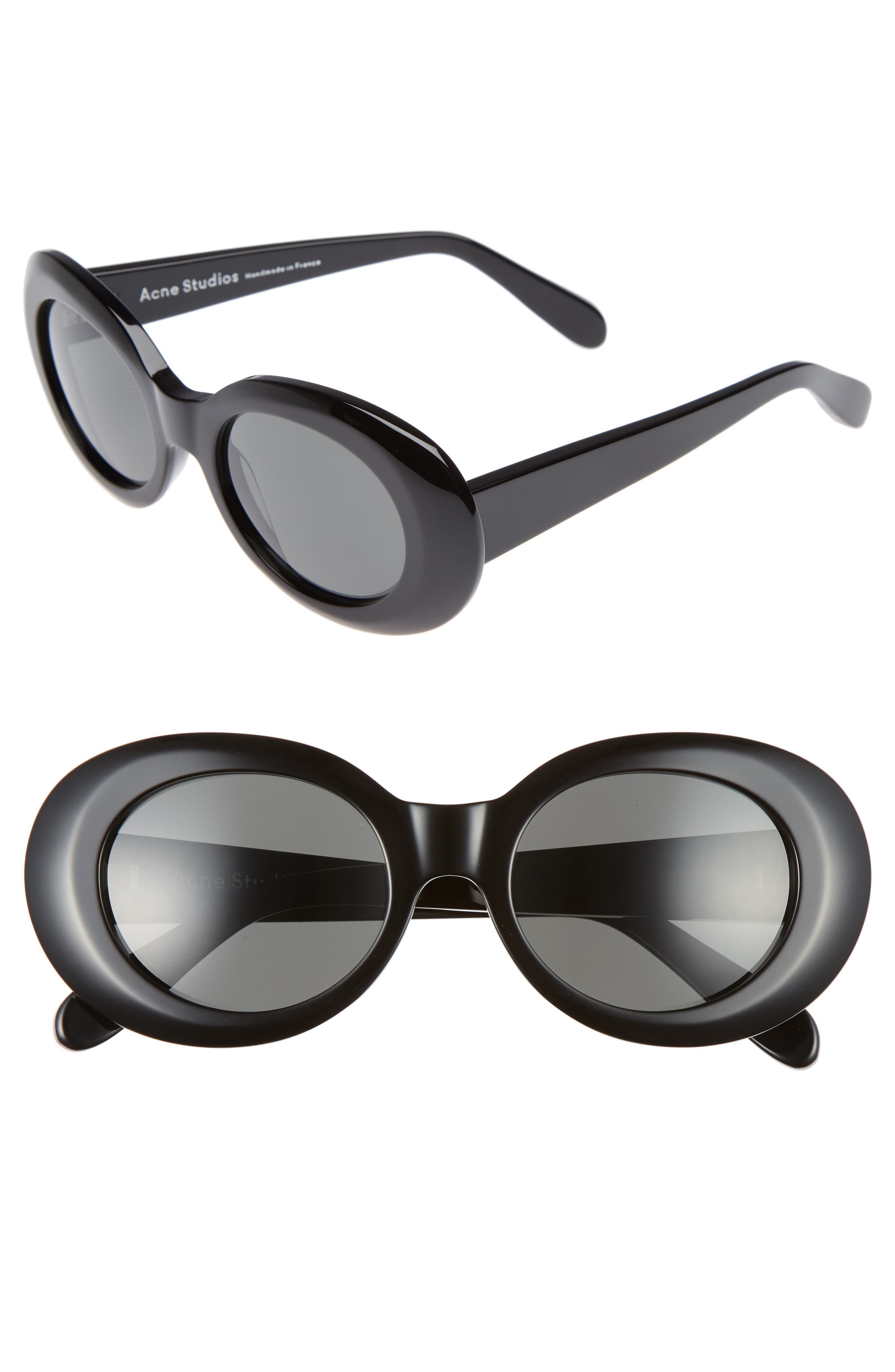 Mustang 47mm Oval Sunglasses,                         Main,                         color, Black