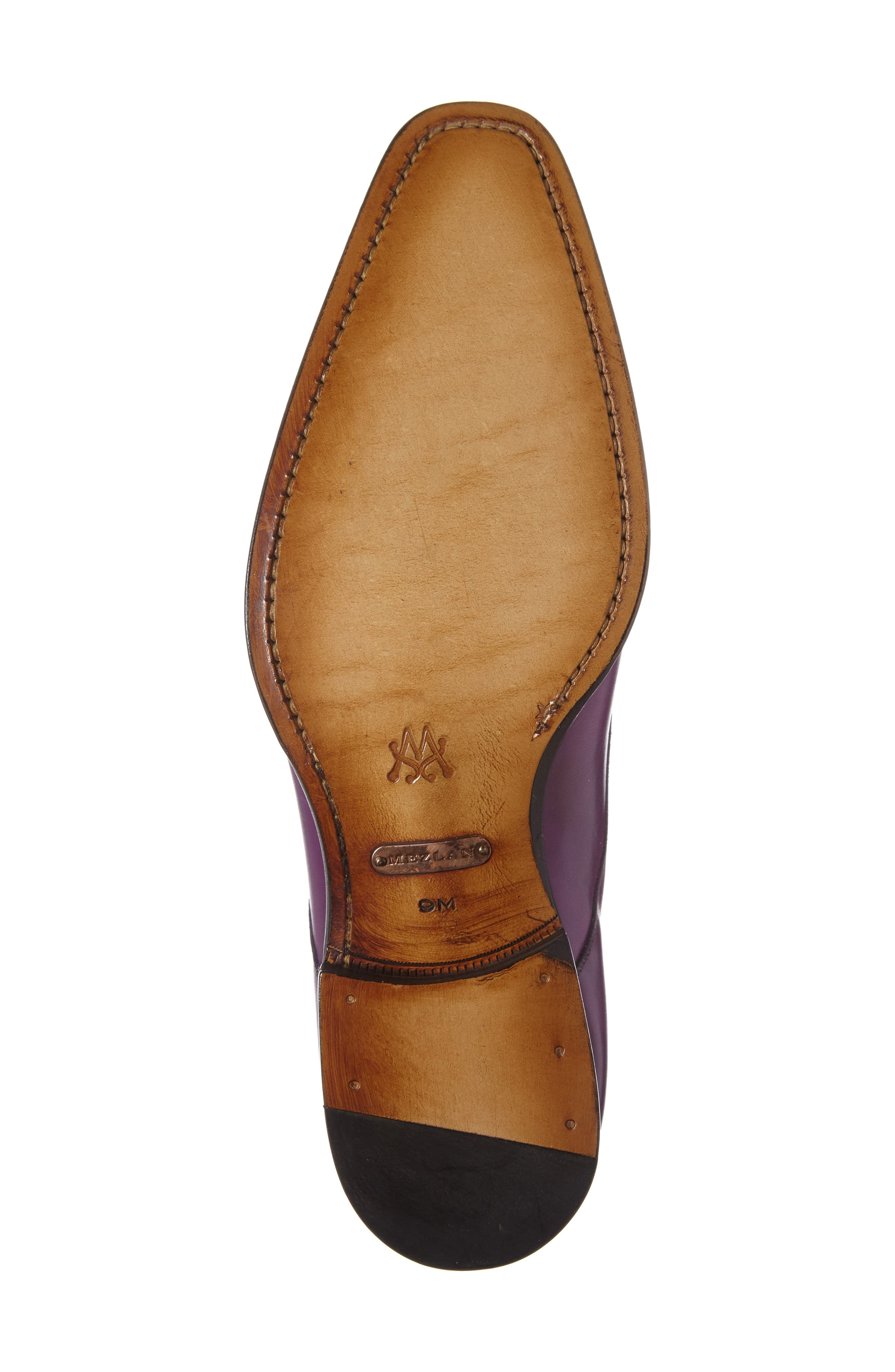 Cajal Double Monk Strap Cap Toe Shoe,                             Alternate thumbnail 4, color,                             Purple Leather