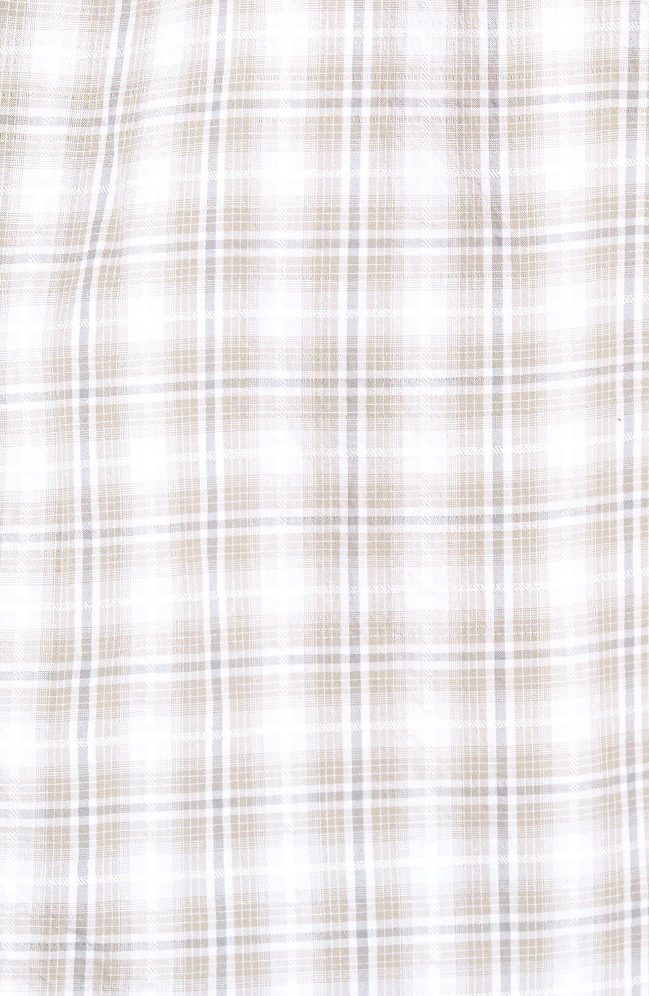Soho Plaid Cotton Sport Shirt,                             Alternate thumbnail 5, color,                             Grey