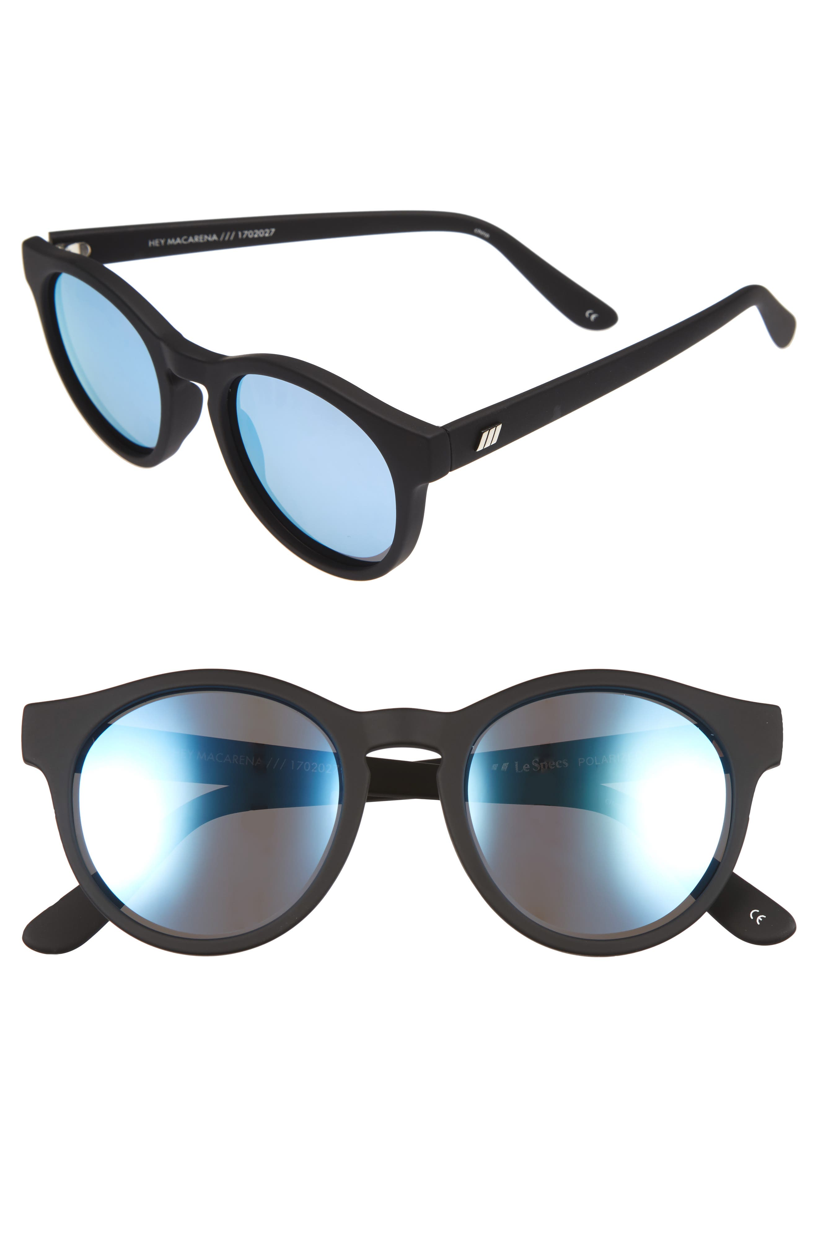 Hey Macarena 51mm Polarized Retro Sunglasses,                             Main thumbnail 1, color,                             Black Rubber
