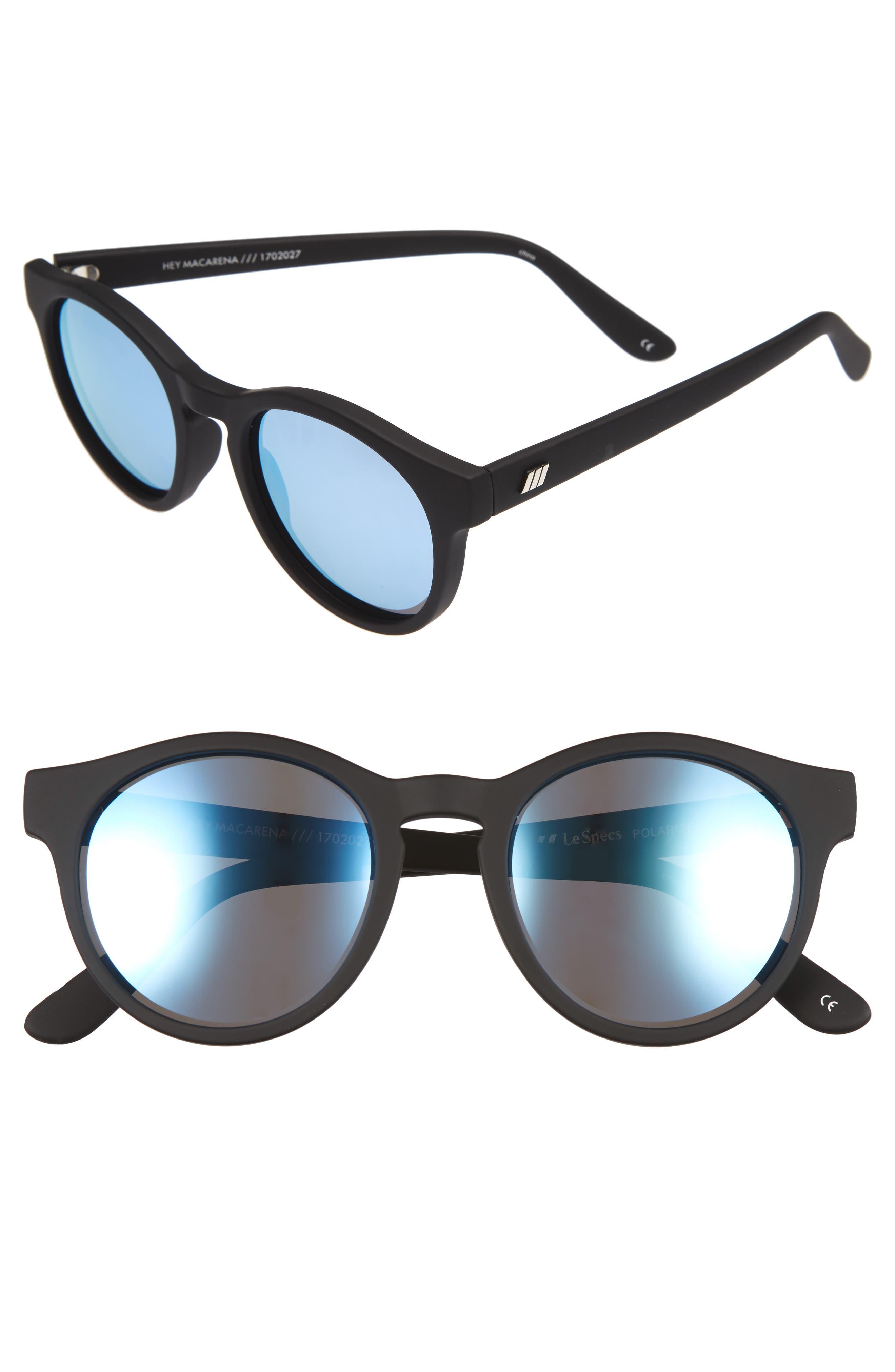 Hey Macarena 51mm Polarized Retro Sunglasses,                         Main,                         color, Black Rubber