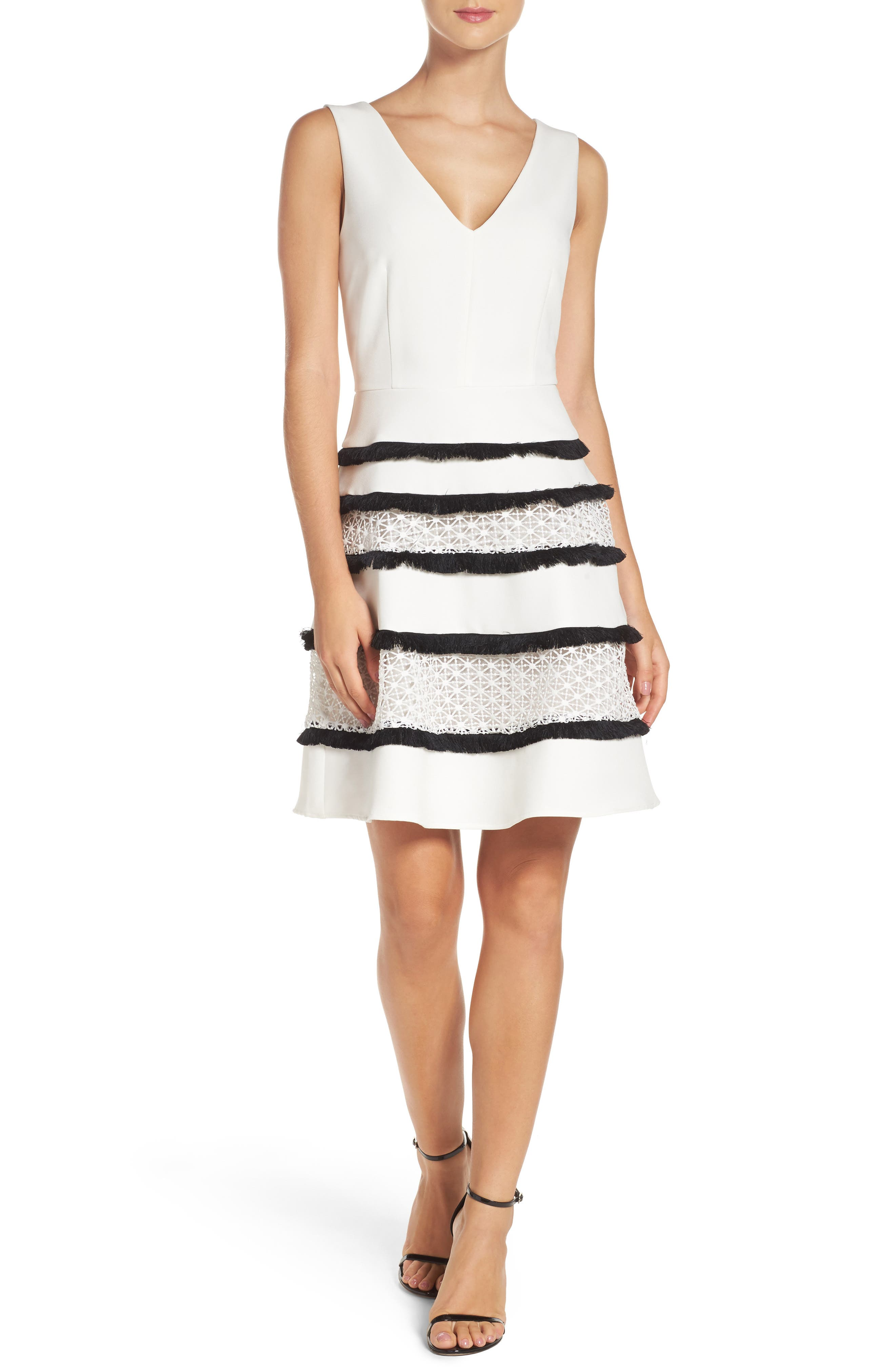 Stripe Fit & Flare Dress,                             Alternate thumbnail 4, color,                             White