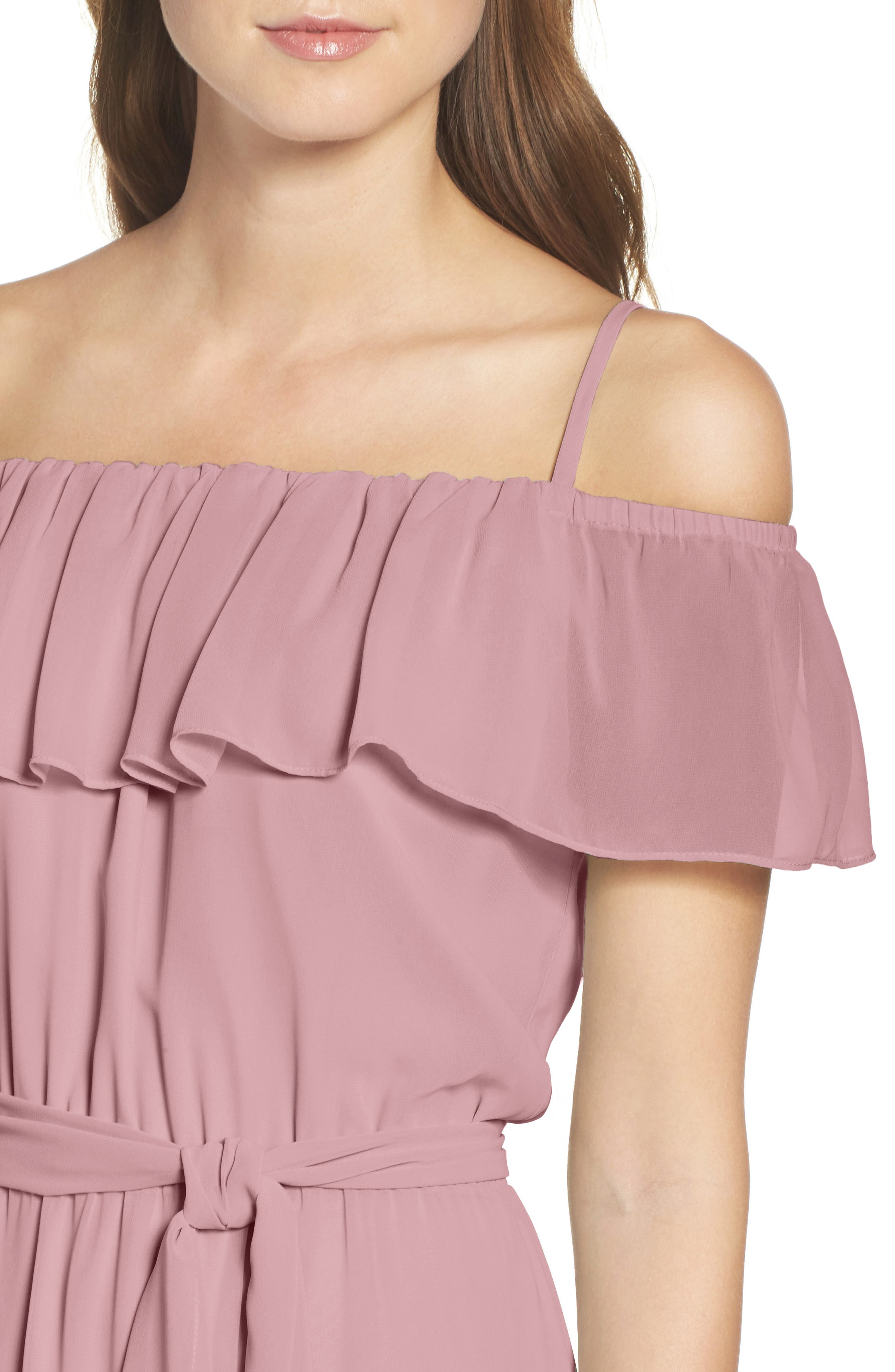 Alternate Image 4  - Ceremony by Joanna August Ruffle Off the Shoulder Chiffon Gown
