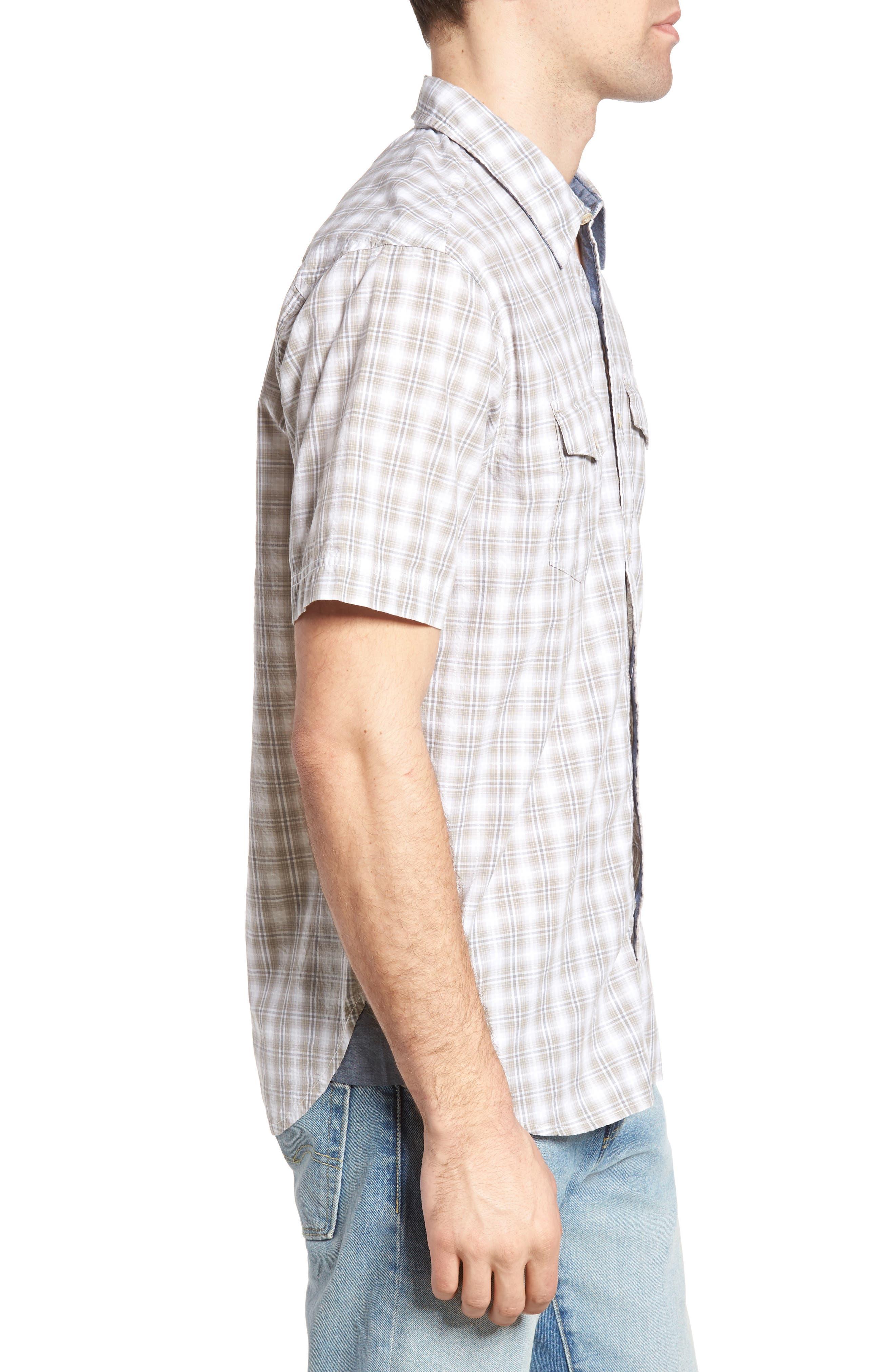 Soho Plaid Cotton Sport Shirt,                             Alternate thumbnail 3, color,                             Grey