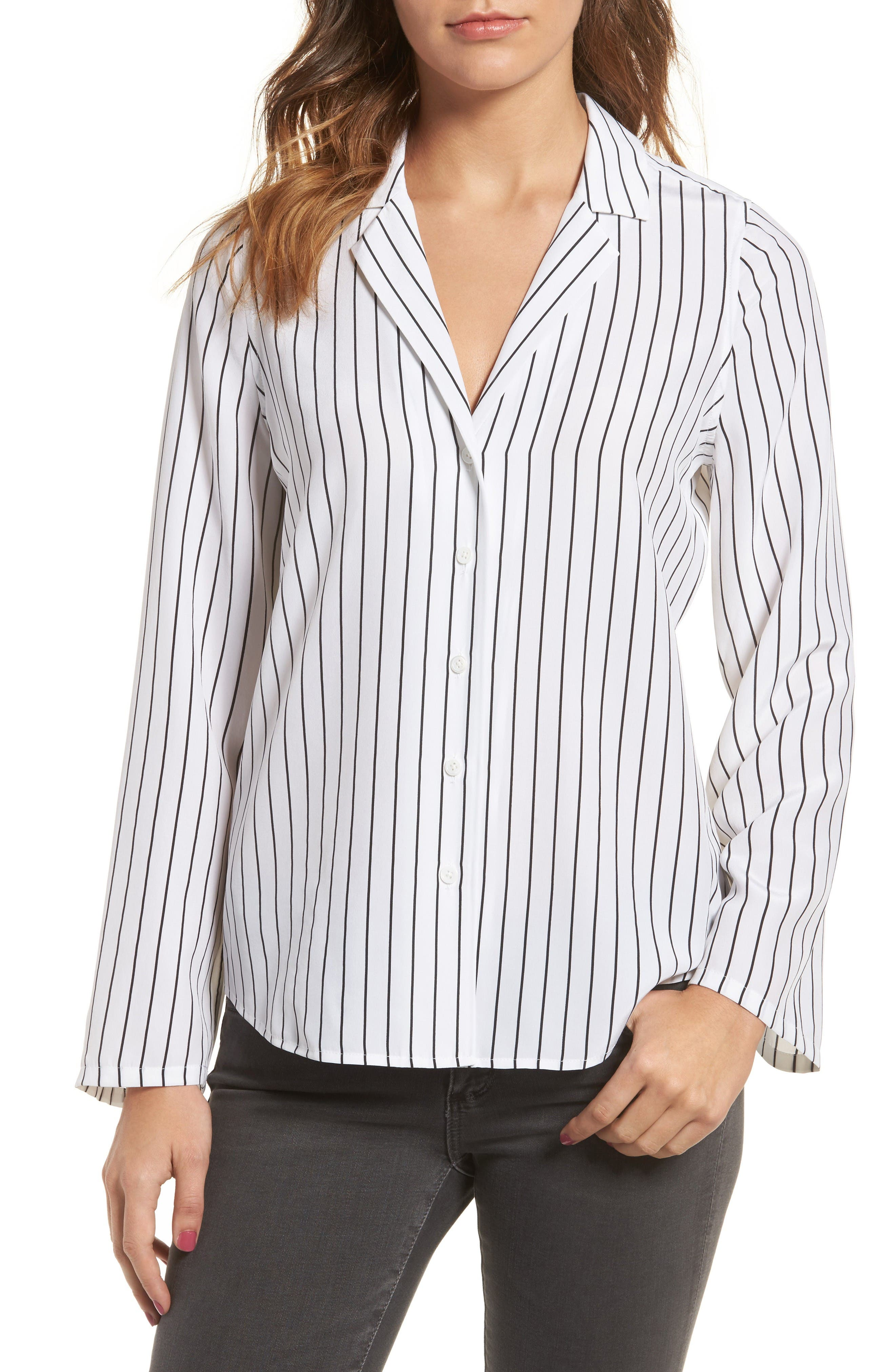 Avery Silk Shirt,                         Main,                         color, True White / True Black Stripe