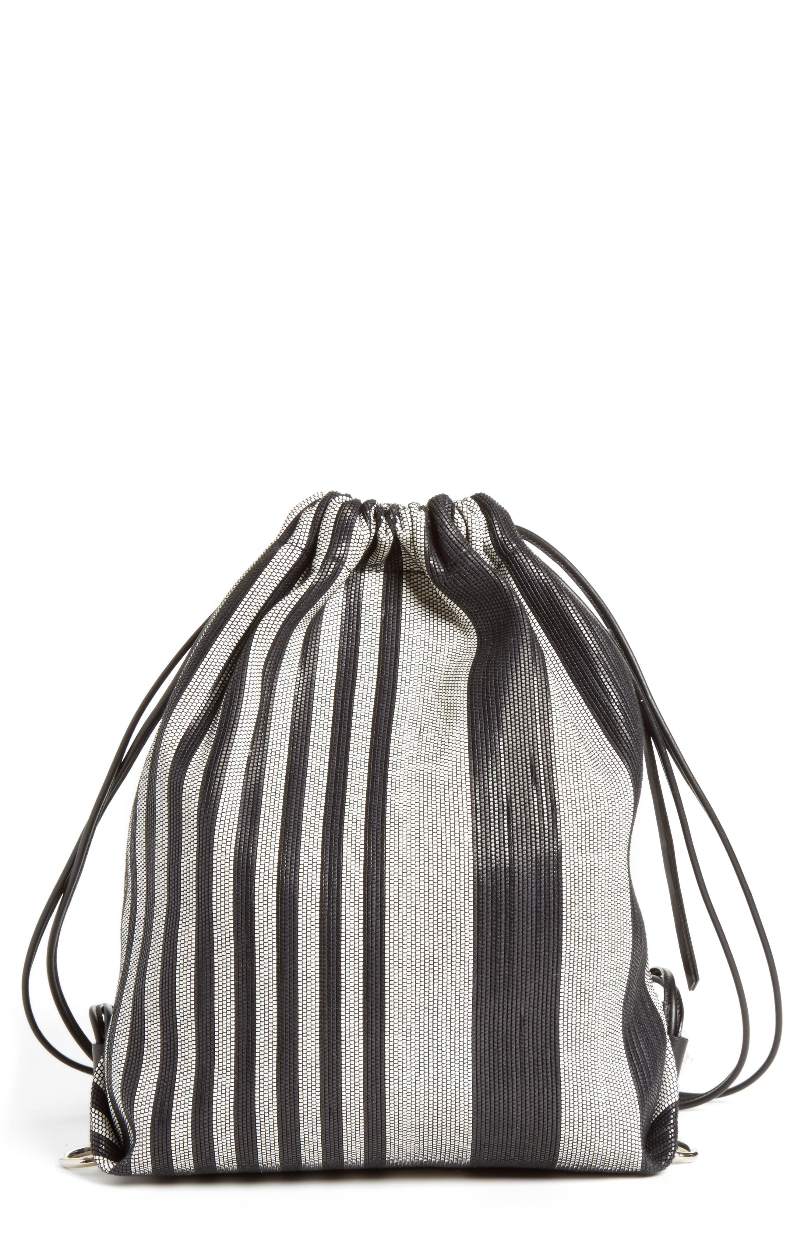 Drawstring Backpack,                             Main thumbnail 1, color,                             Black/White