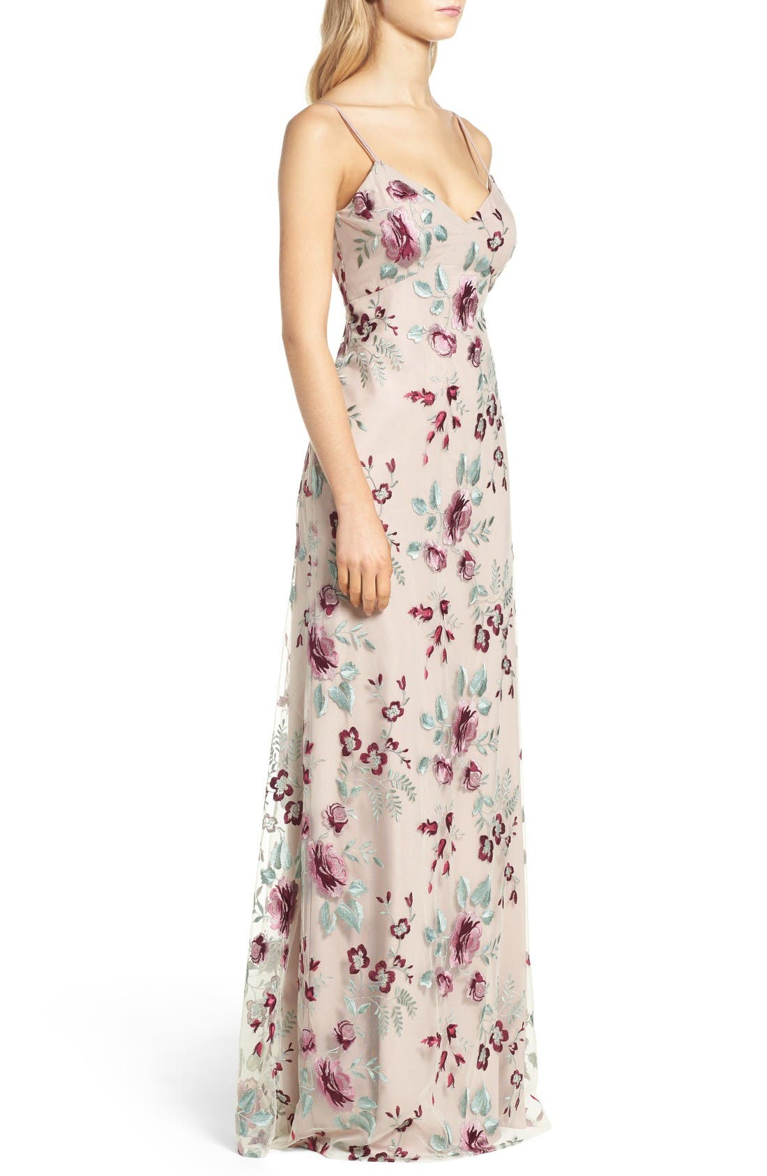 Julianna Embroidered Gown,                             Alternate thumbnail 3, color,                             Berry Vintage Iris