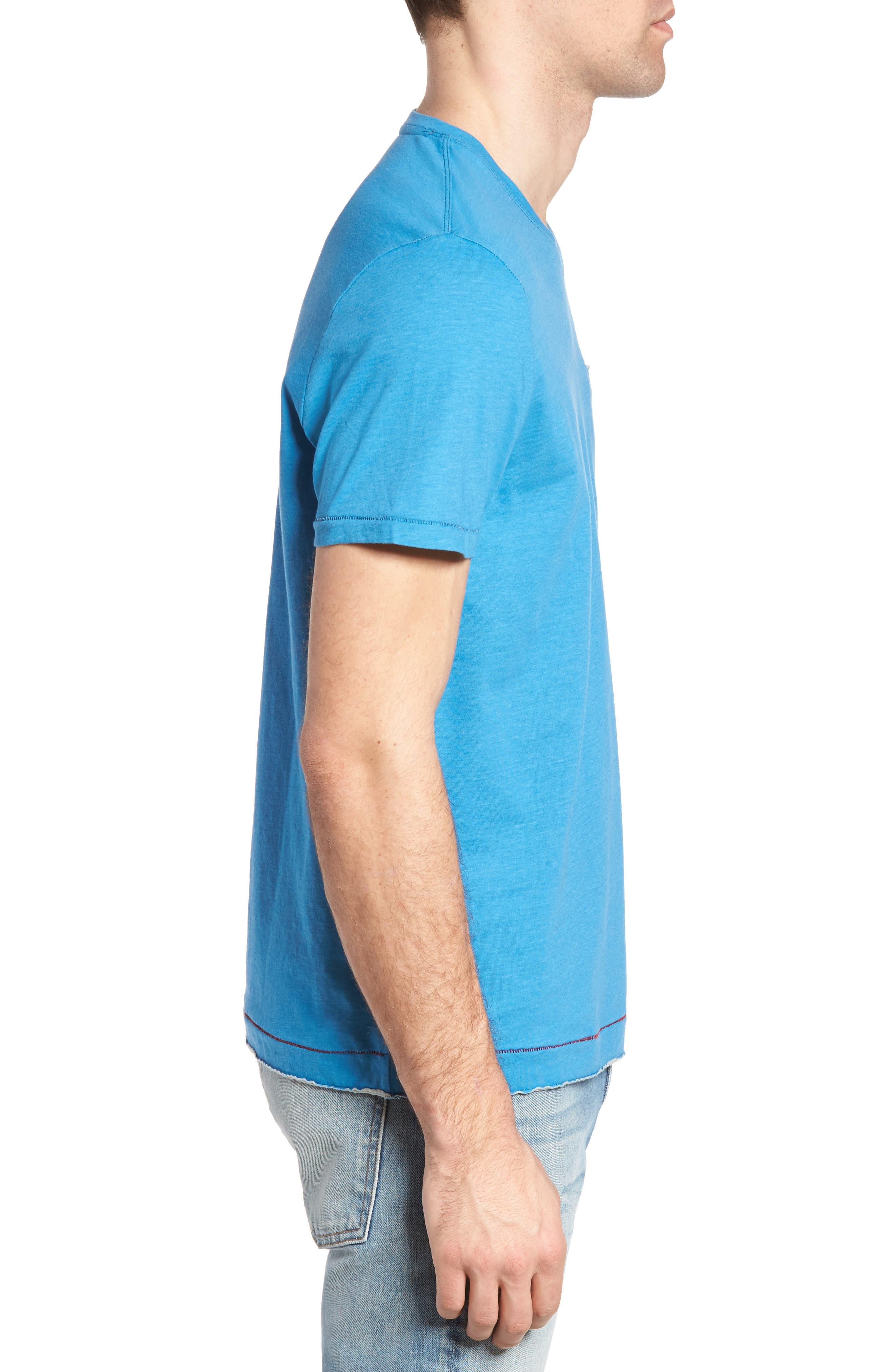 Gus Pad Pocket V-Neck T-Shirt,                             Alternate thumbnail 3, color,                             Mykonos Blue