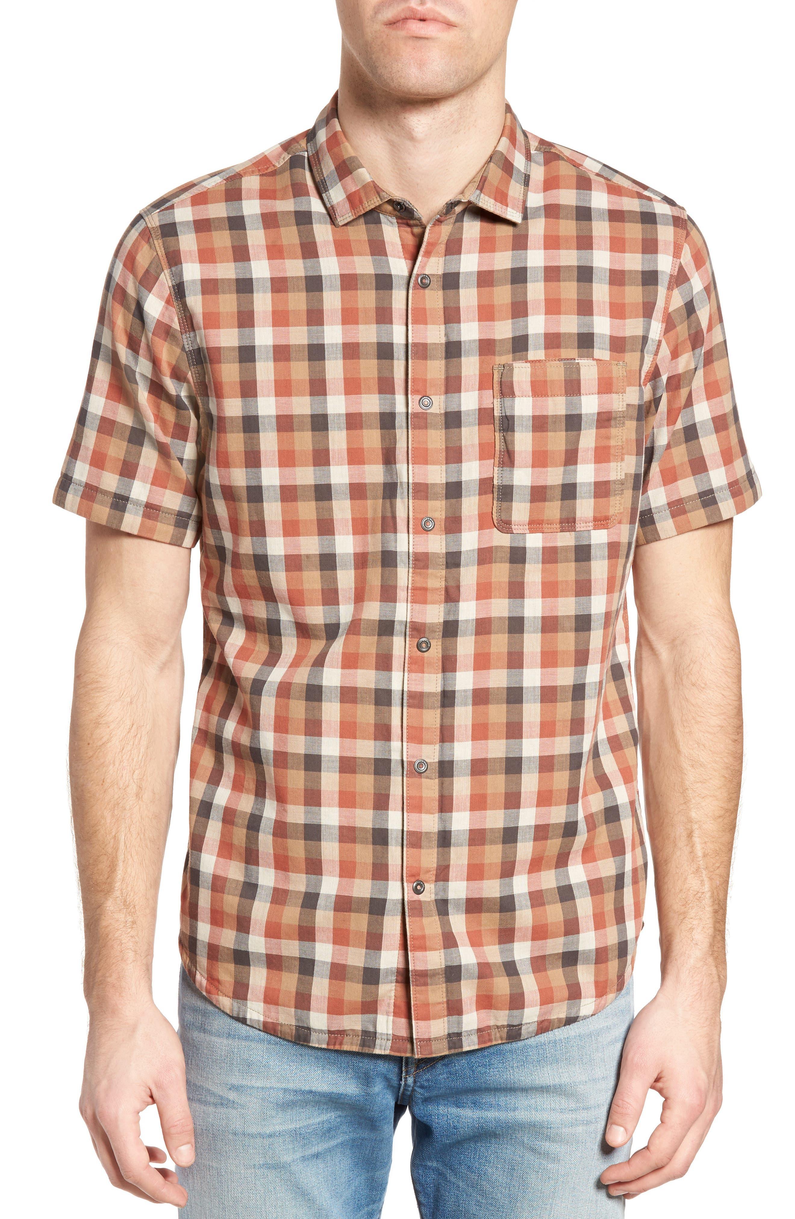 Nomad Reversible Plaid Sport Shirt,                         Main,                         color, Cajun