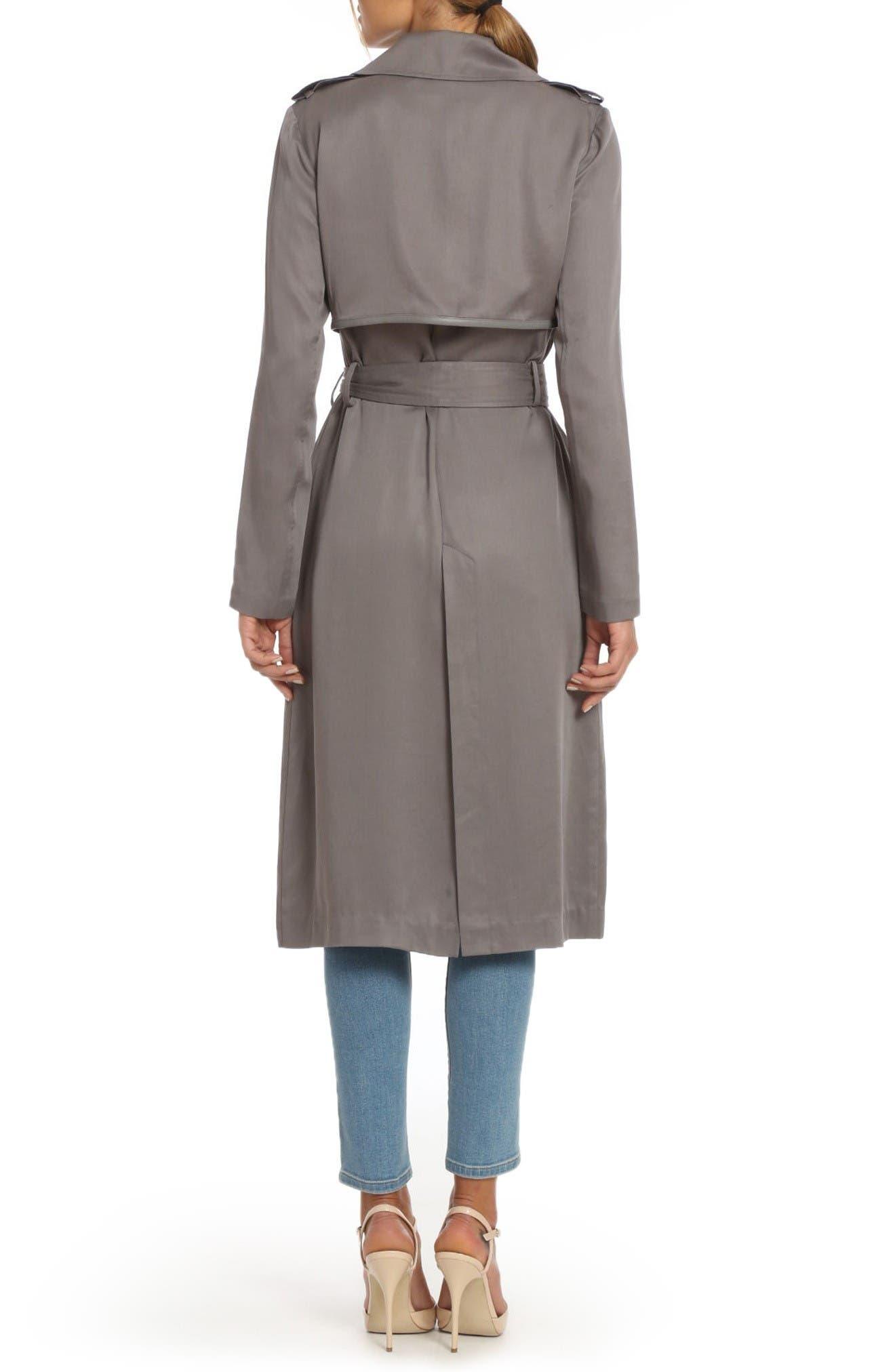 Alternate Image 2  - Badgley Mischka Faux Leather Trim Long Trench Coat