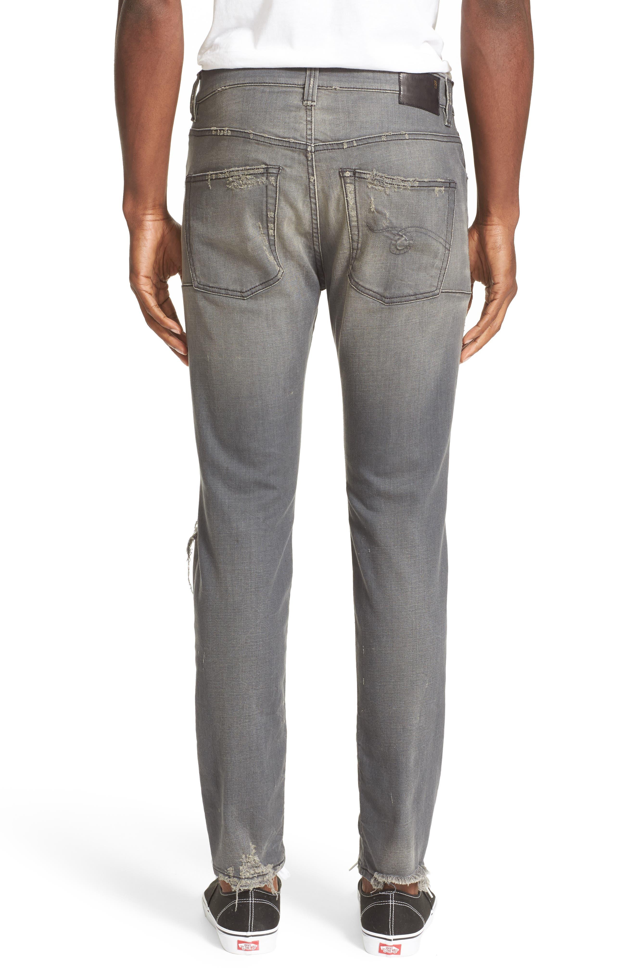 Skate Shredded Skinny Jeans,                             Alternate thumbnail 2, color,                             Grey