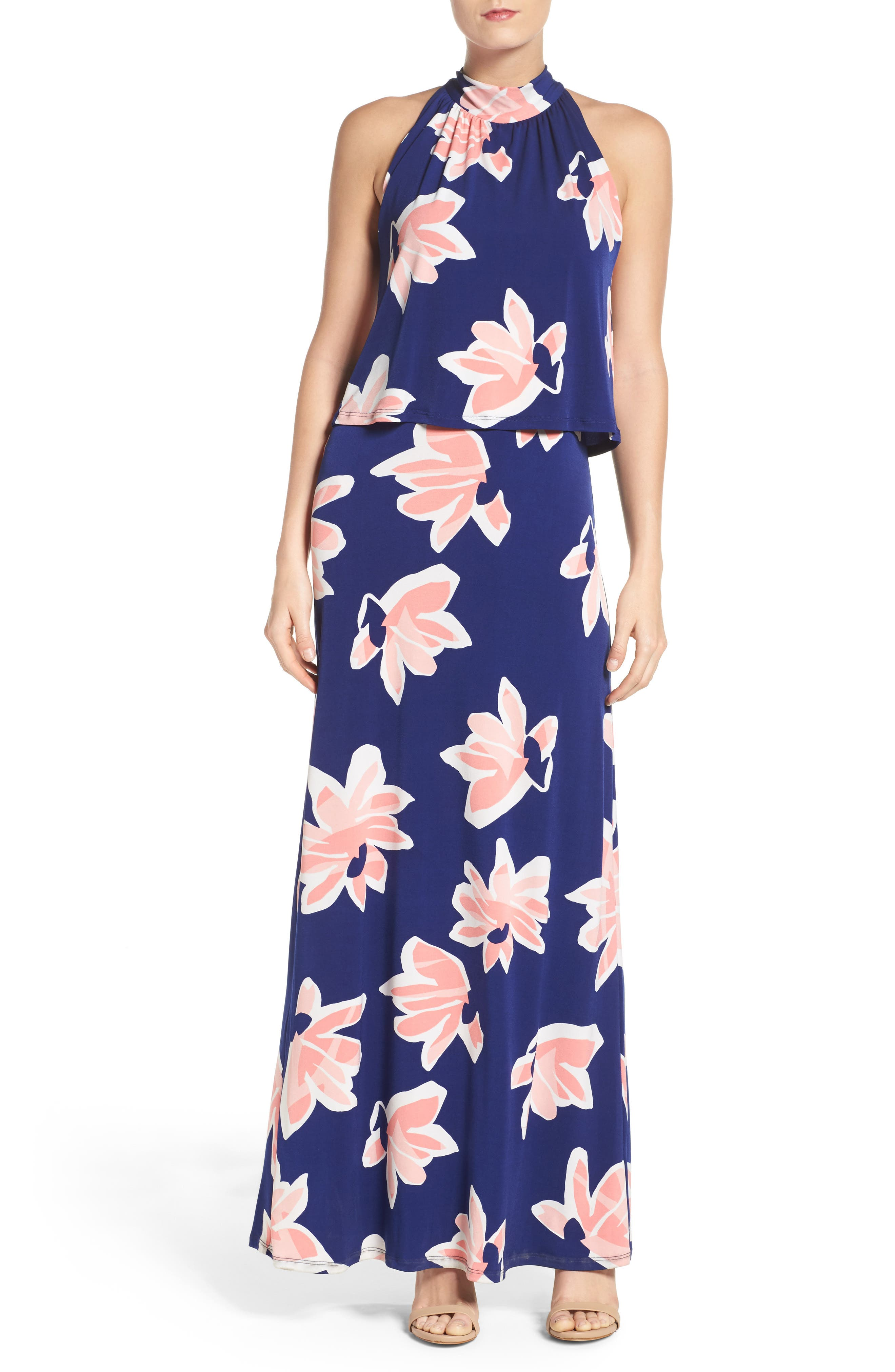 'Syler' Popover Jersey Maxi Dress,                         Main,                         color, Waterlily