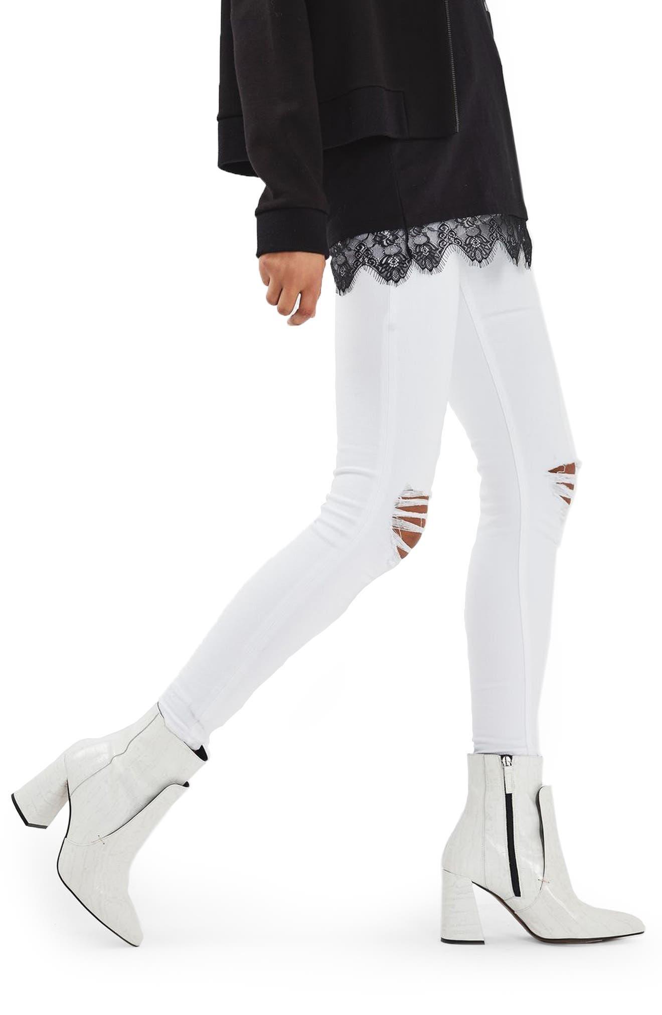 Jamie Ripped Skinny Jeans,                             Alternate thumbnail 4, color,                             White