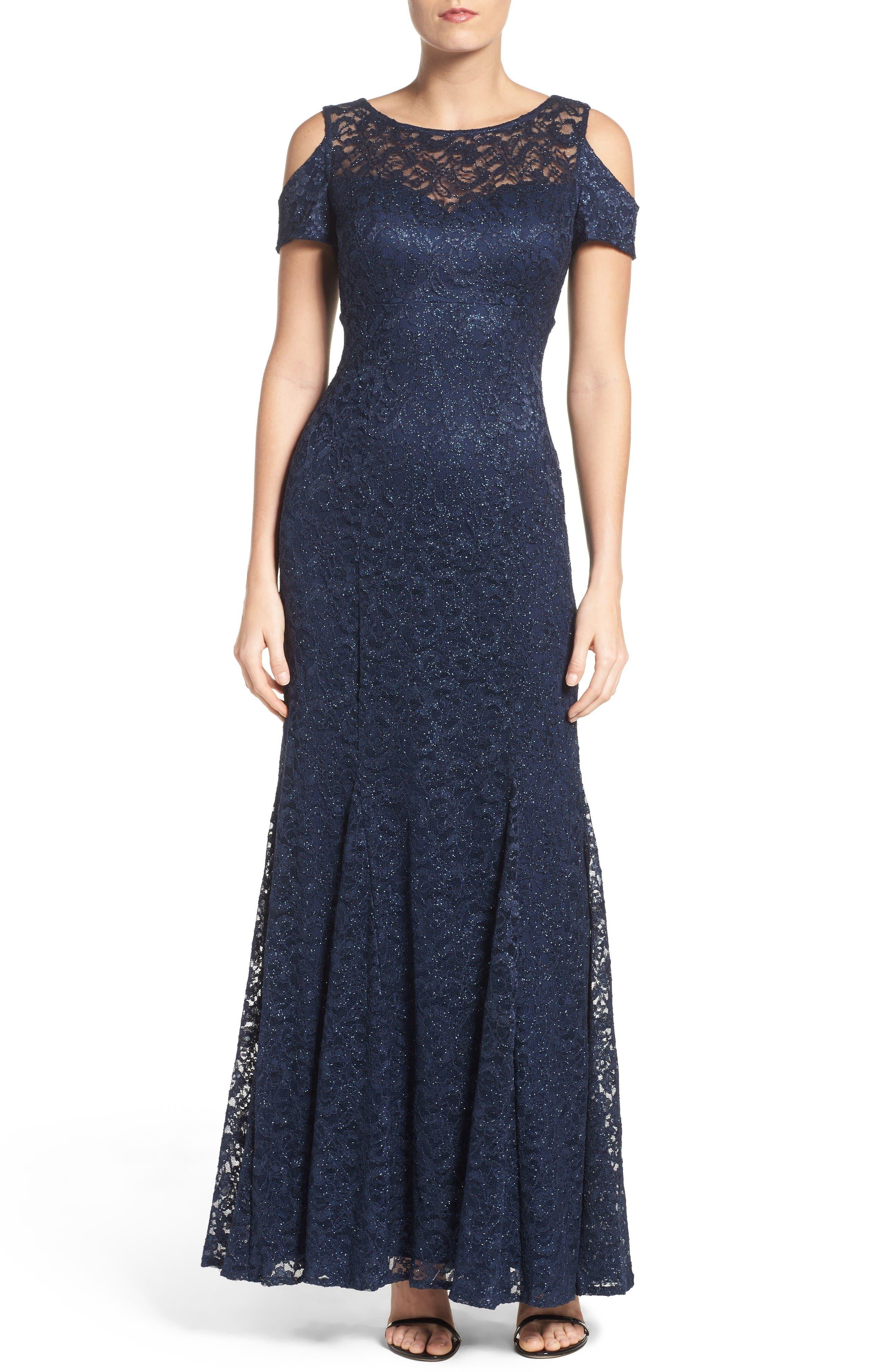Cold Shoulder Lace Gown,                             Main thumbnail 1, color,                             Navy