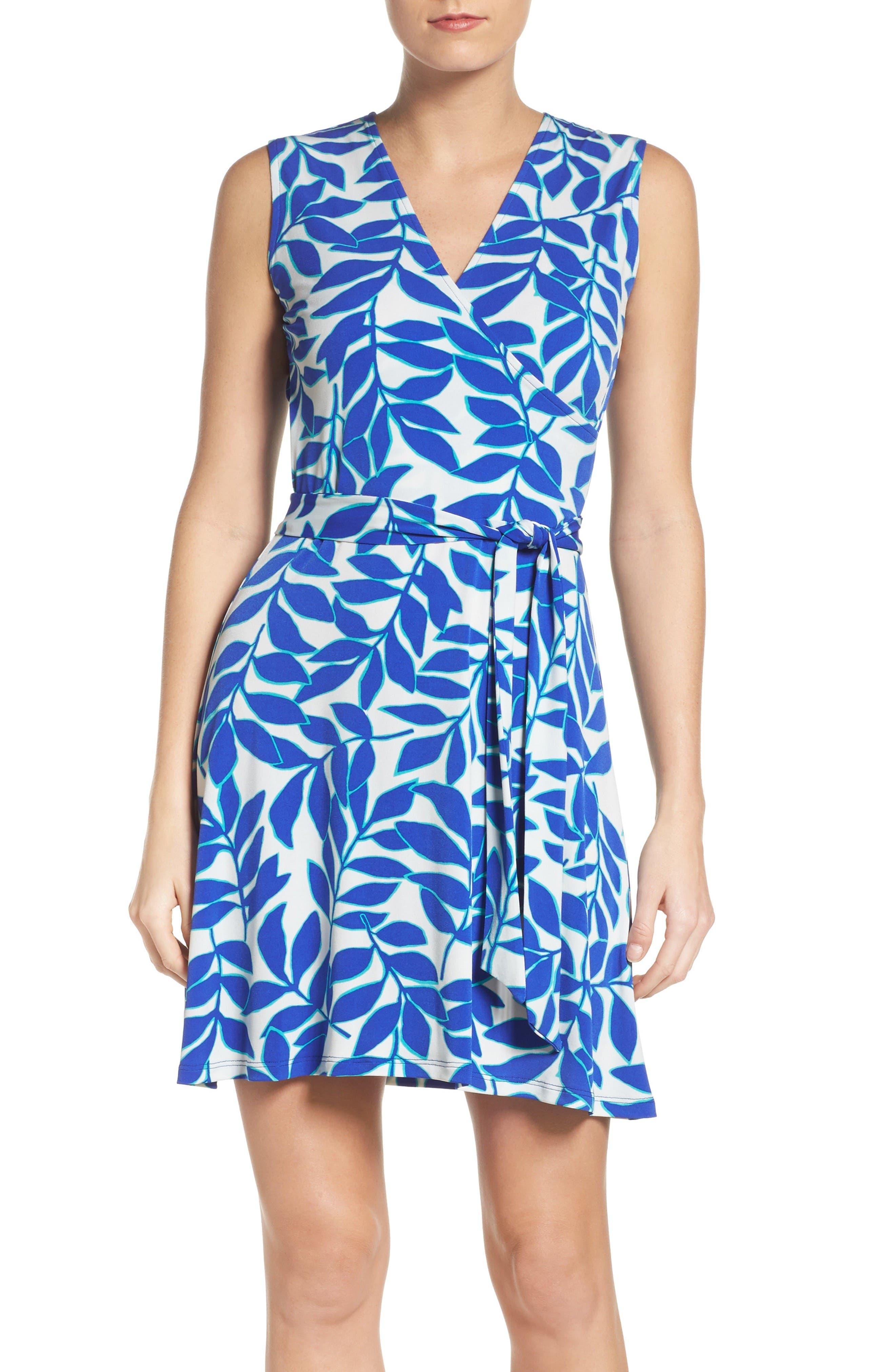 Perfect Faux Wrap Dress,                         Main,                         color, Blue Ivy