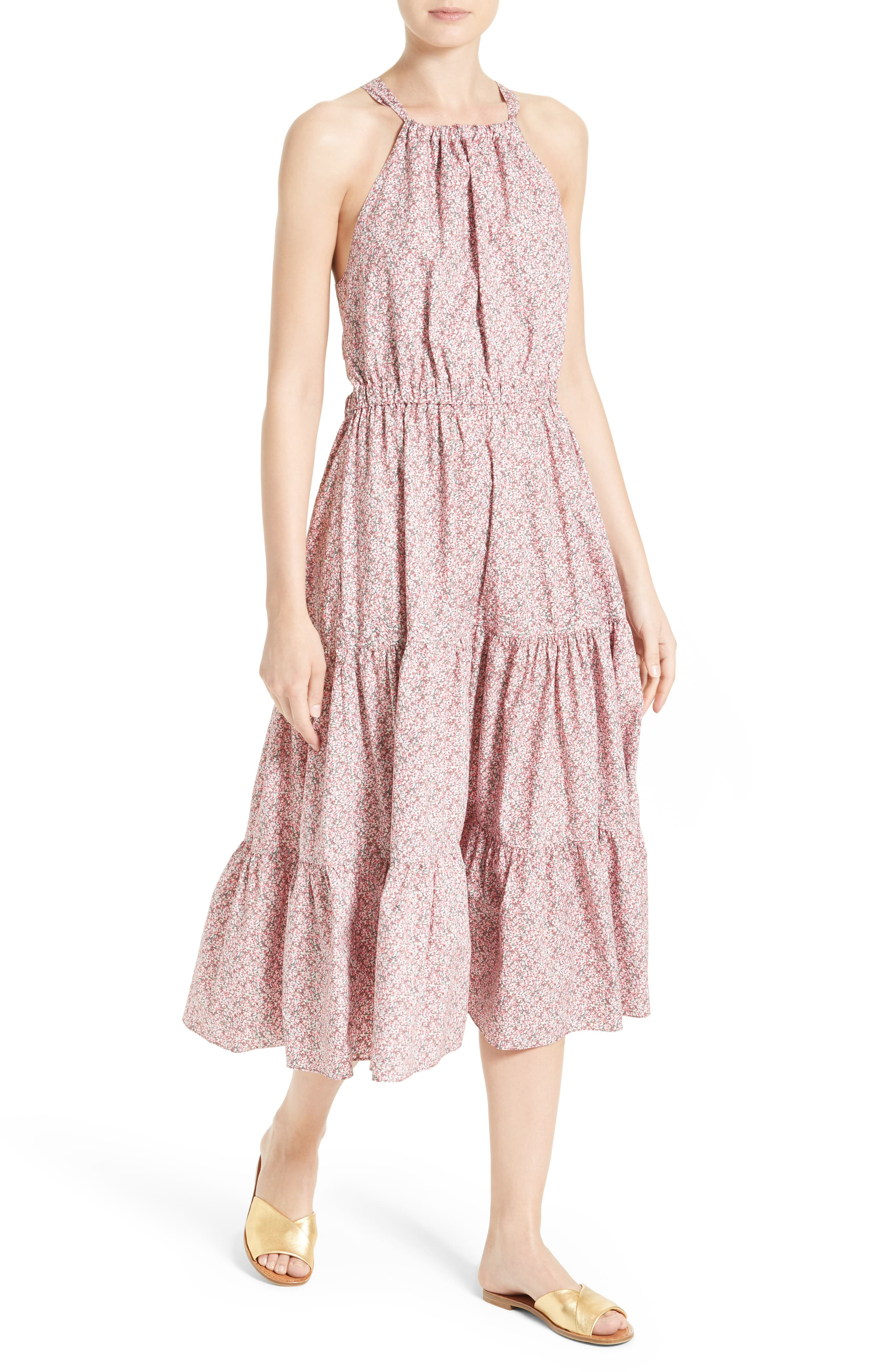 Alternate Image 4  - La Vie Rebecca Taylor Meadow Floral Tie Back Tiered Sundress