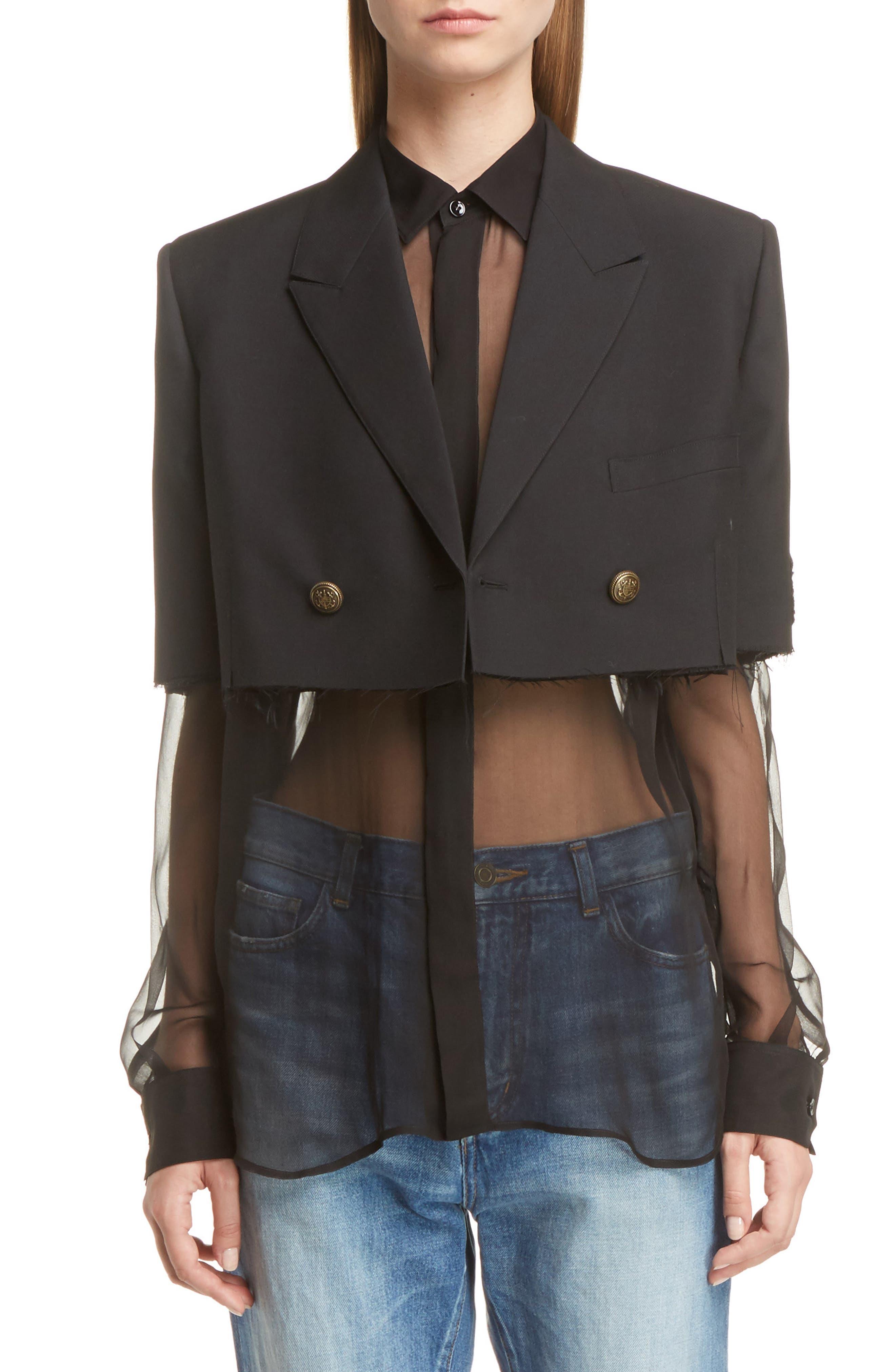 Alternate Image 1 Selected - Saint Laurent Wool Crop Officer Jacket