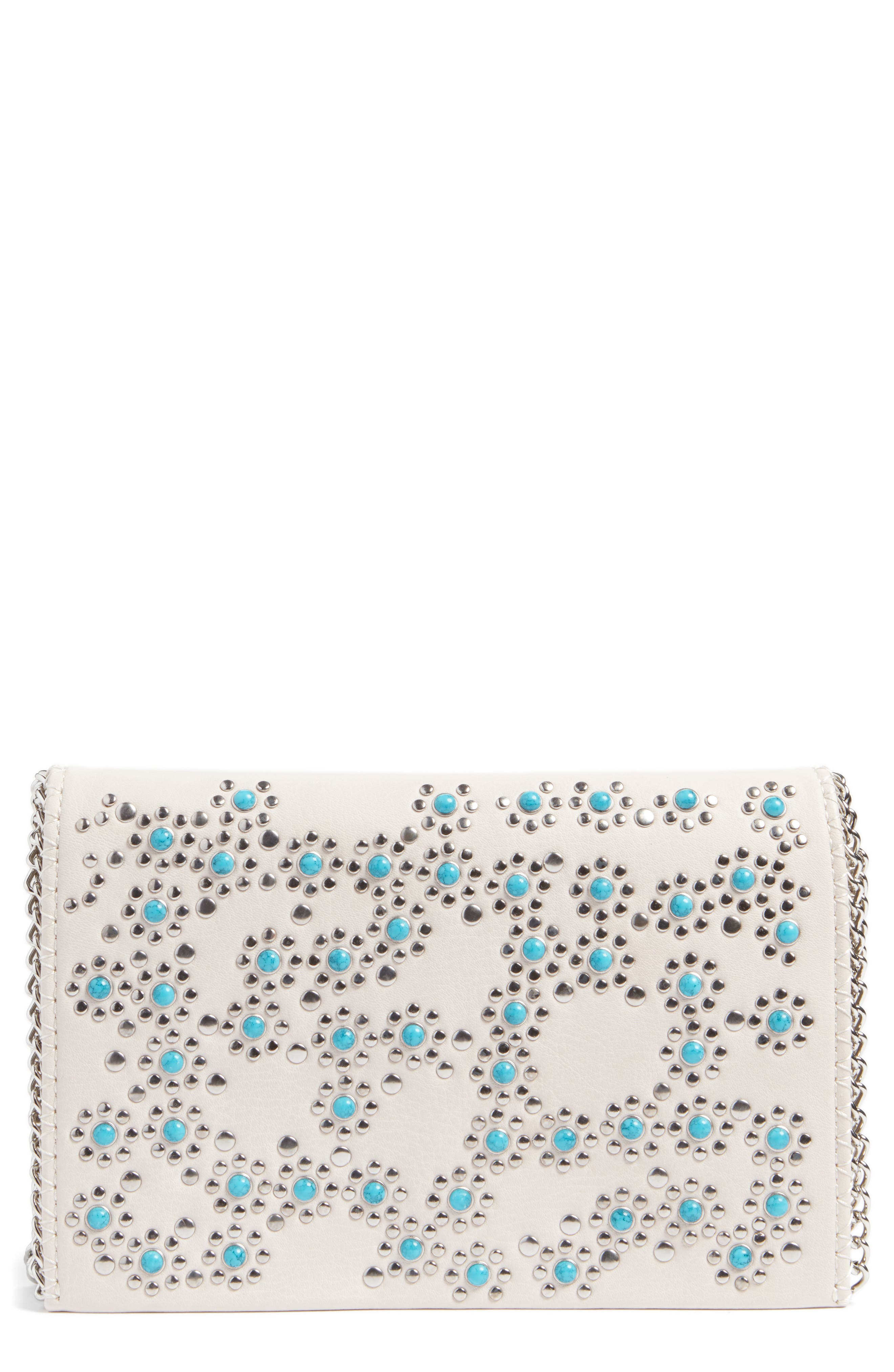 CHELSEA28 Embellished Faux Leather Convertible Clutch