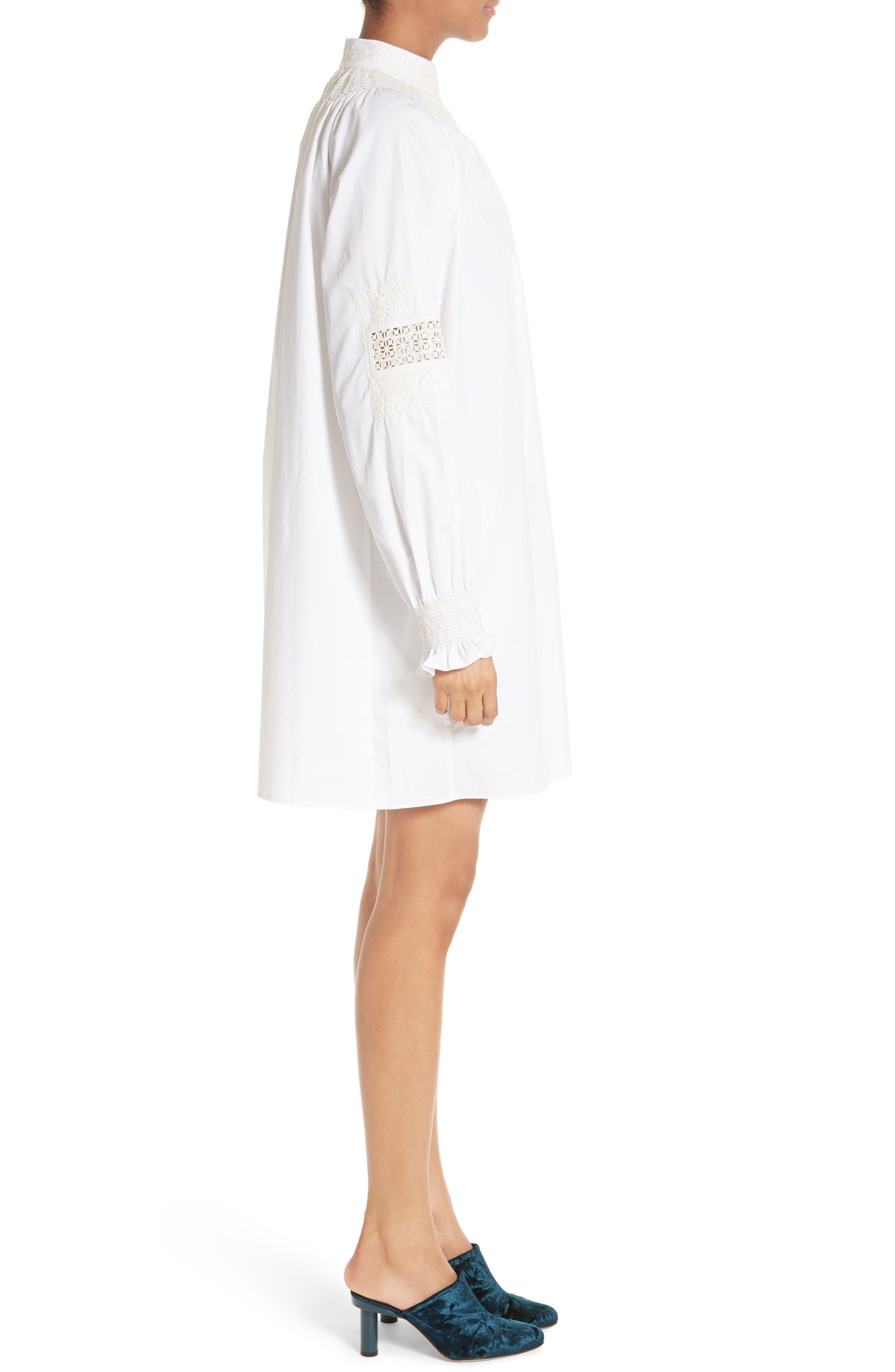 Smocked Tunic Dress,                             Alternate thumbnail 3, color,                             White/ Ivory Multi