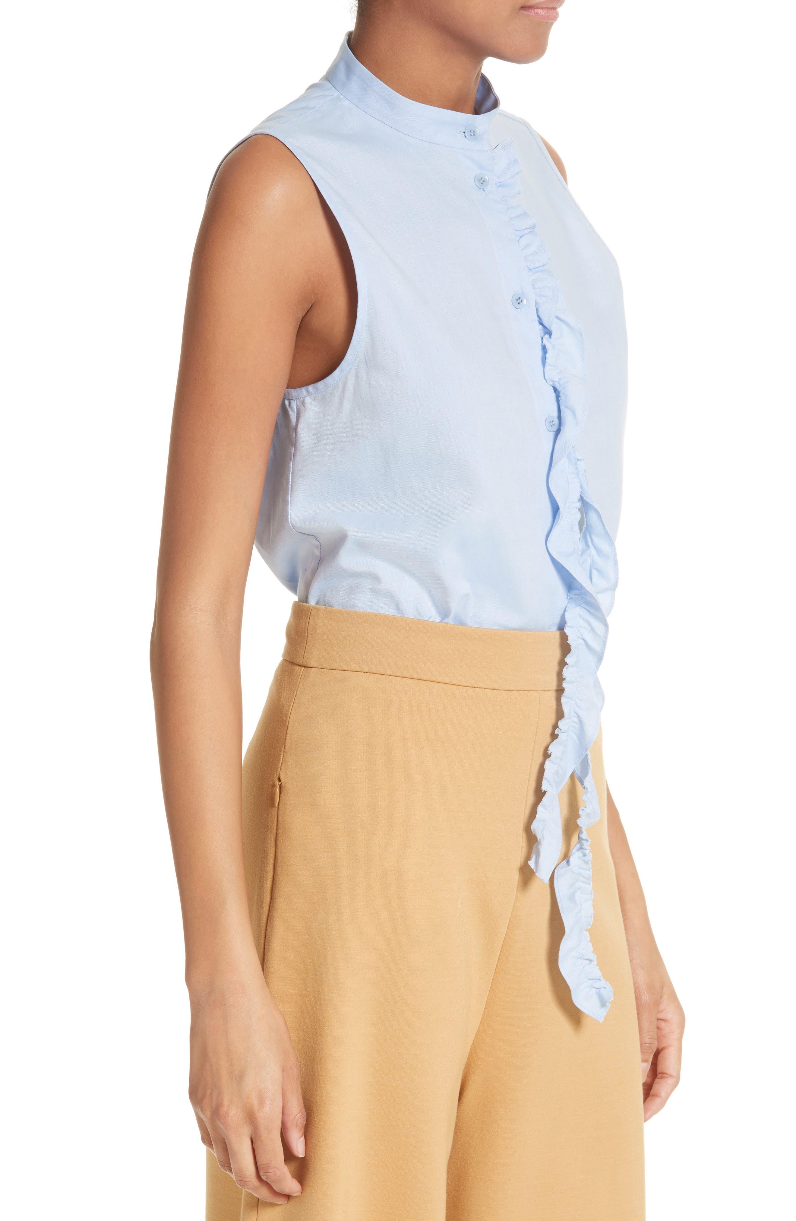Ruggle Oxford Cotton Shirt,                             Alternate thumbnail 4, color,                             Light Blue