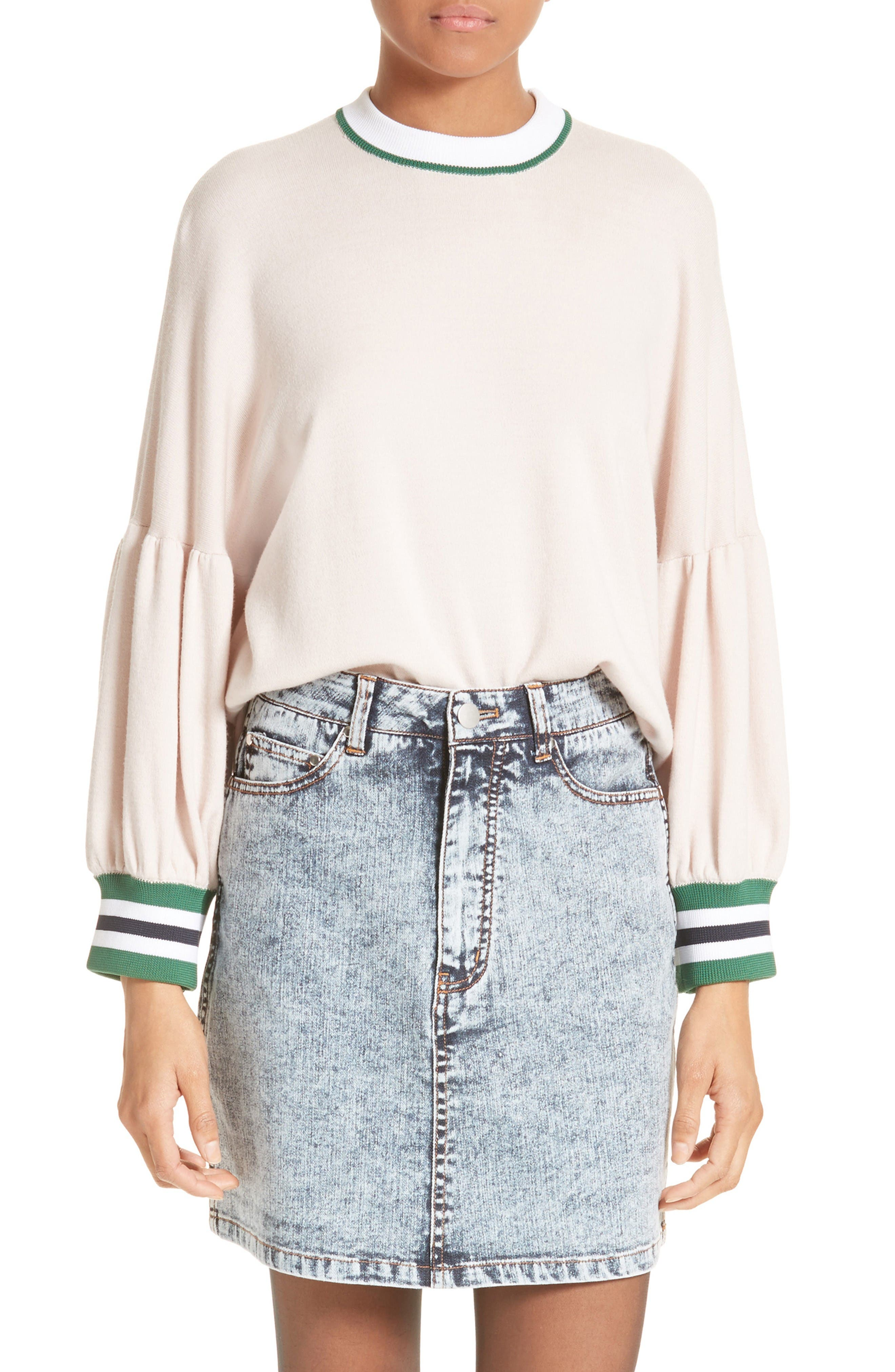Wool Puff Sleeve Pullover,                         Main,                         color, Pale Blush Multi