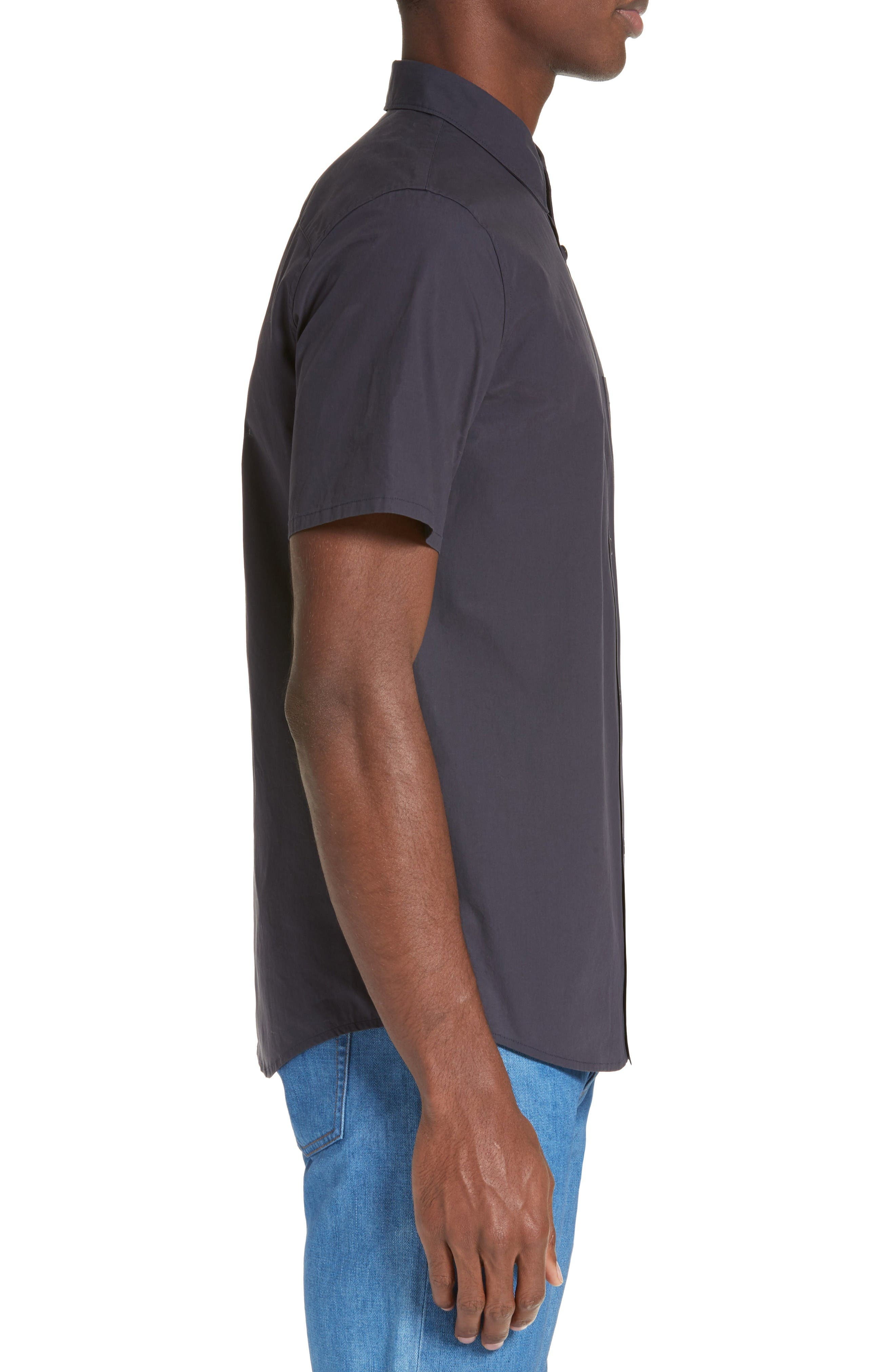 Andreas Extra Trim Fit Sport Shirt,                             Alternate thumbnail 3, color,                             Dark Navy