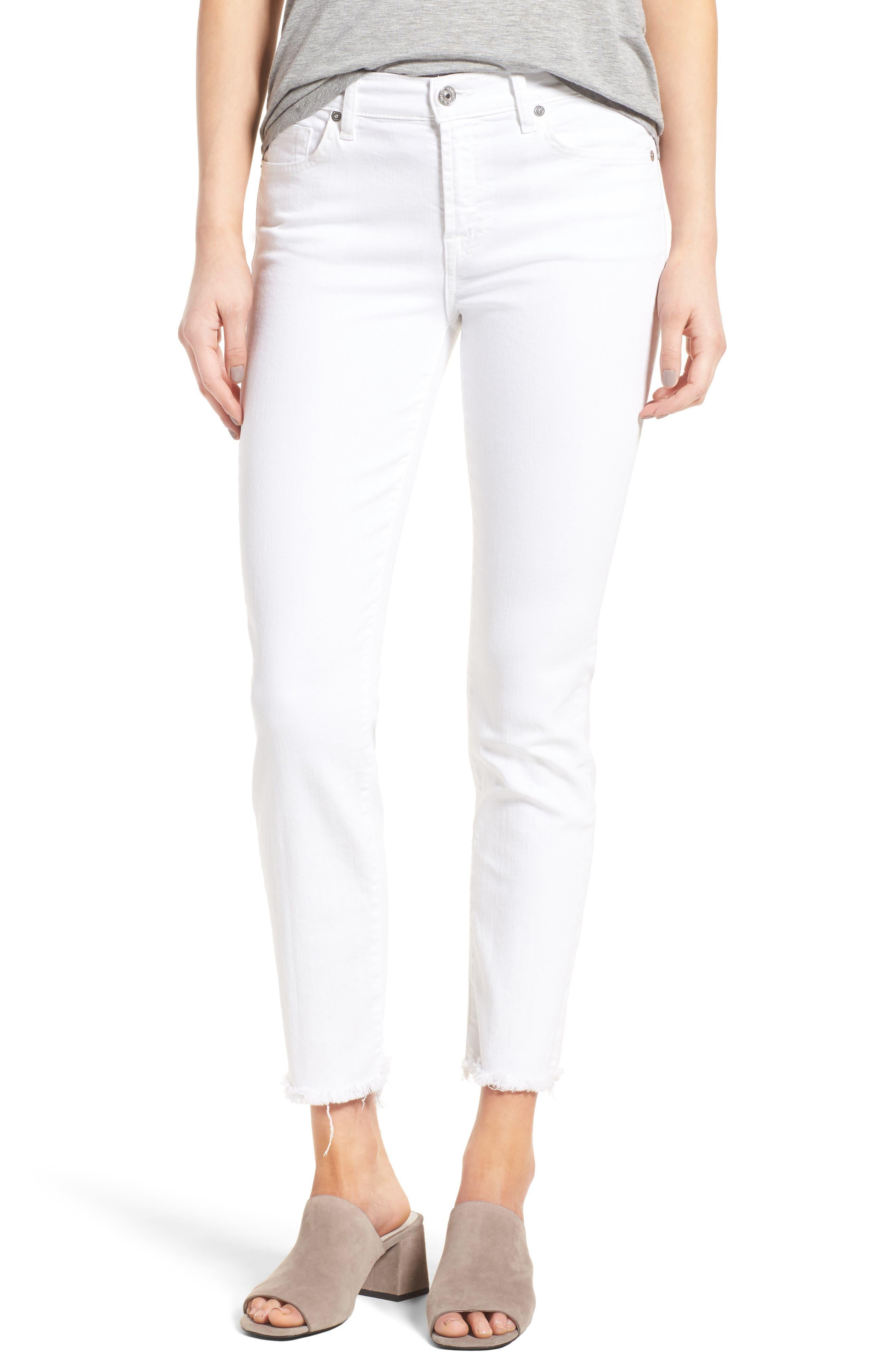 Roxanne Ankle Straight Leg Jeans,                             Main thumbnail 1, color,                             White Fashion