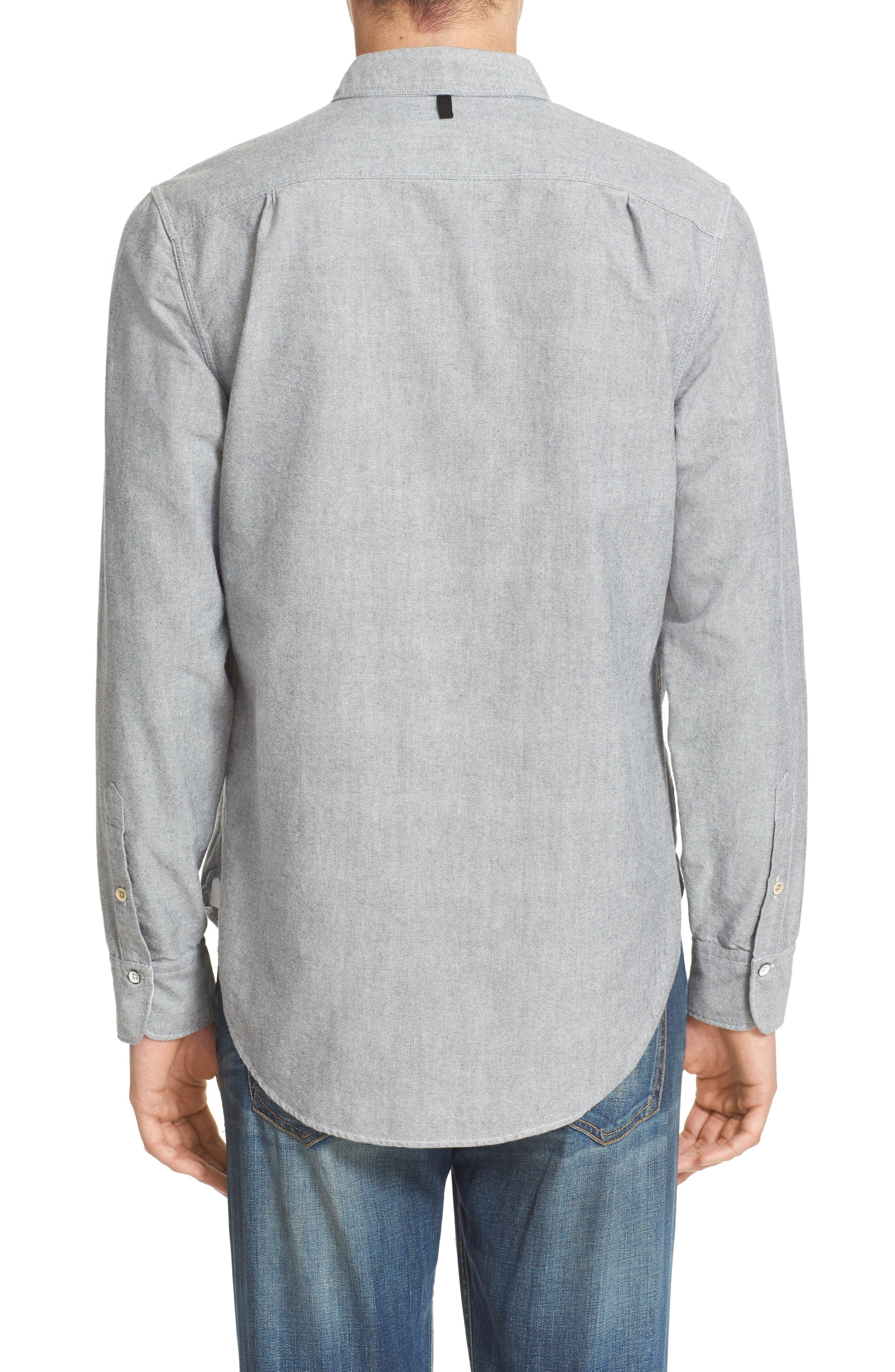 Beach Trim Fit Oxford Sport Shirt,                             Alternate thumbnail 2, color,                             Grey