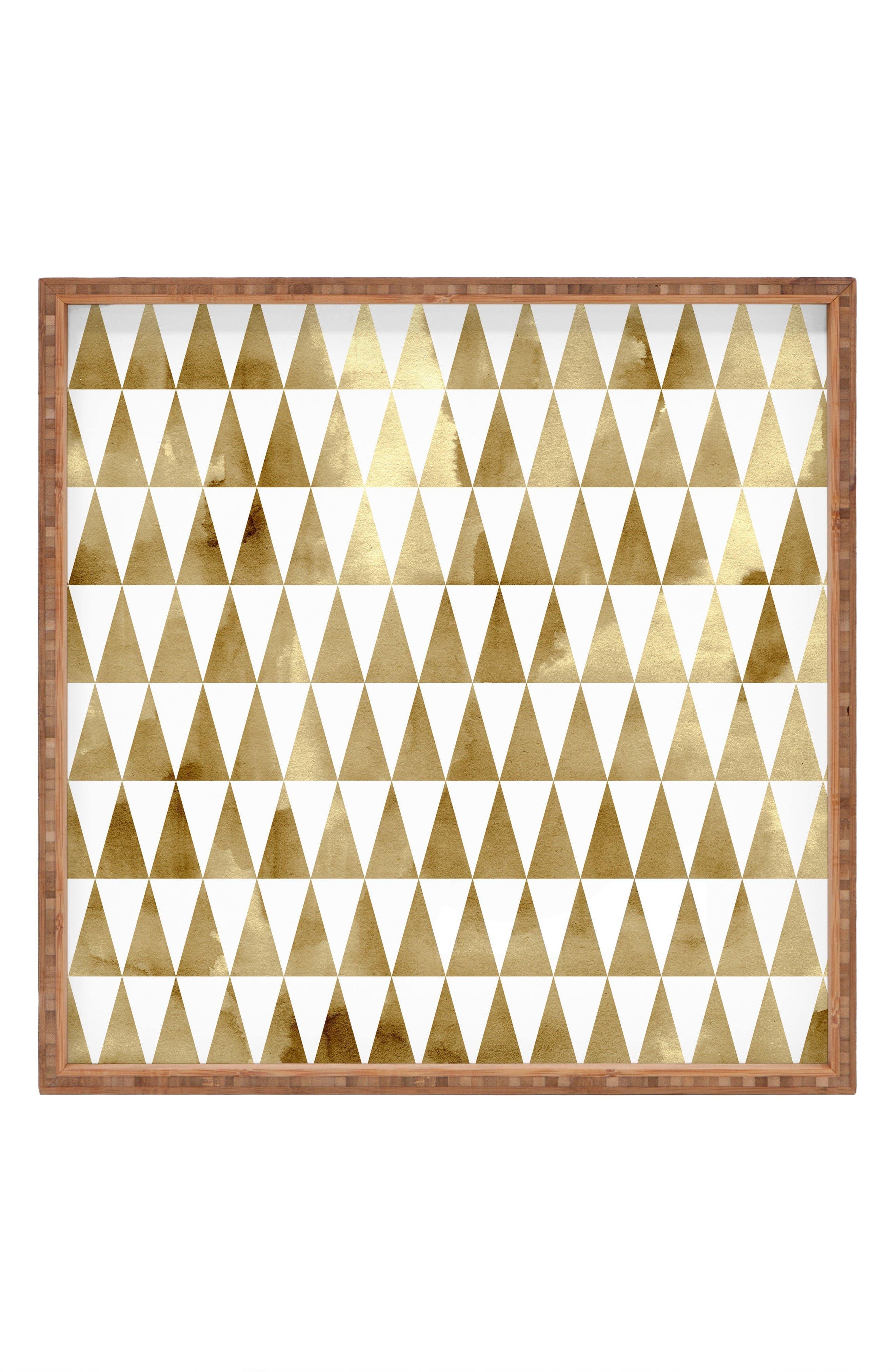 Georgiana Paraschiv - Triangle Pattern Decorative Tray,                         Main,                         color, Gold