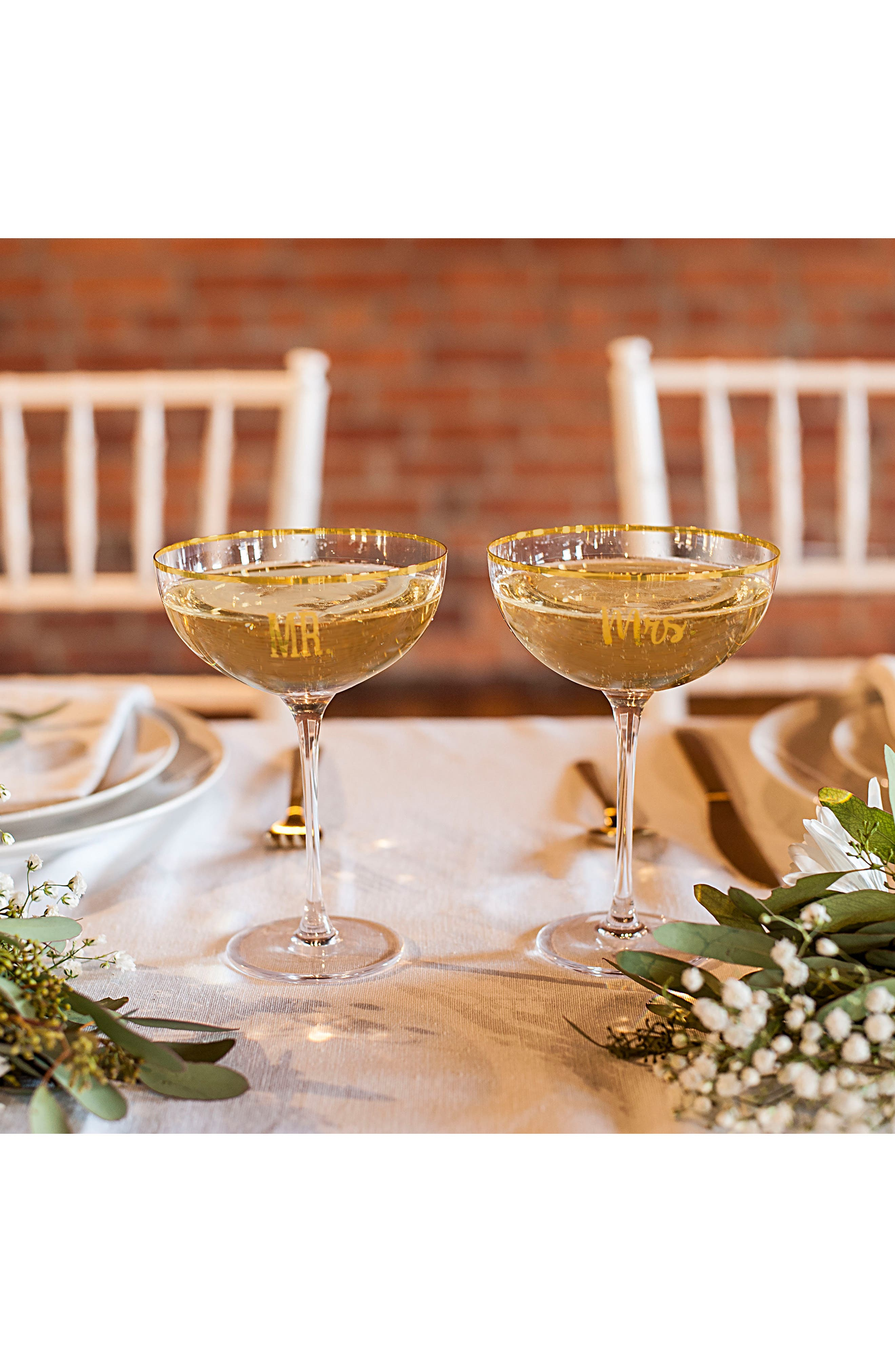 Mr. & Mrs. Set of 2 Champagne Coupe Toasting Glasses,                             Alternate thumbnail 6, color,                             Gold
