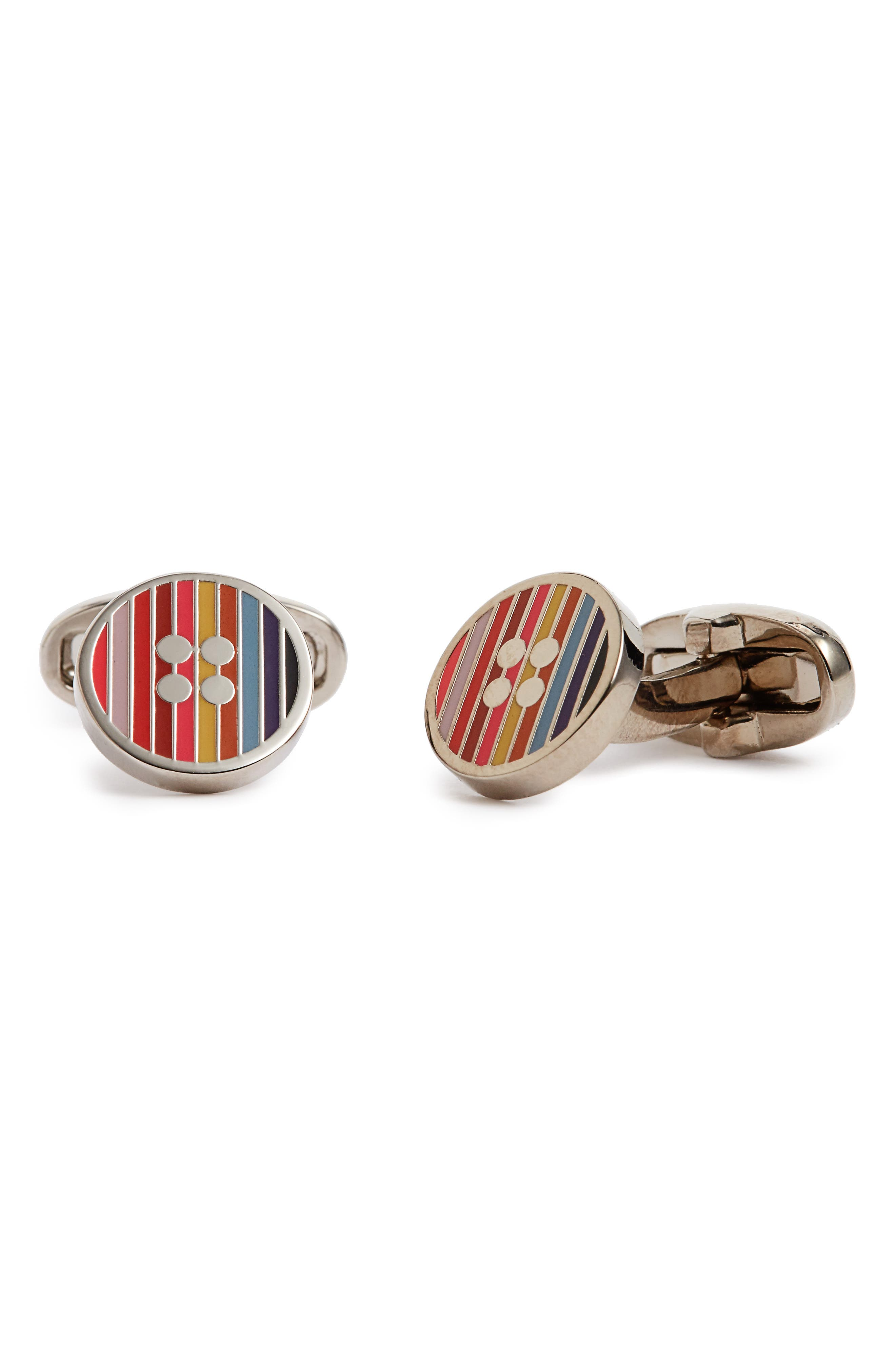 PAUL SMITH Stripe Button Cuff Links