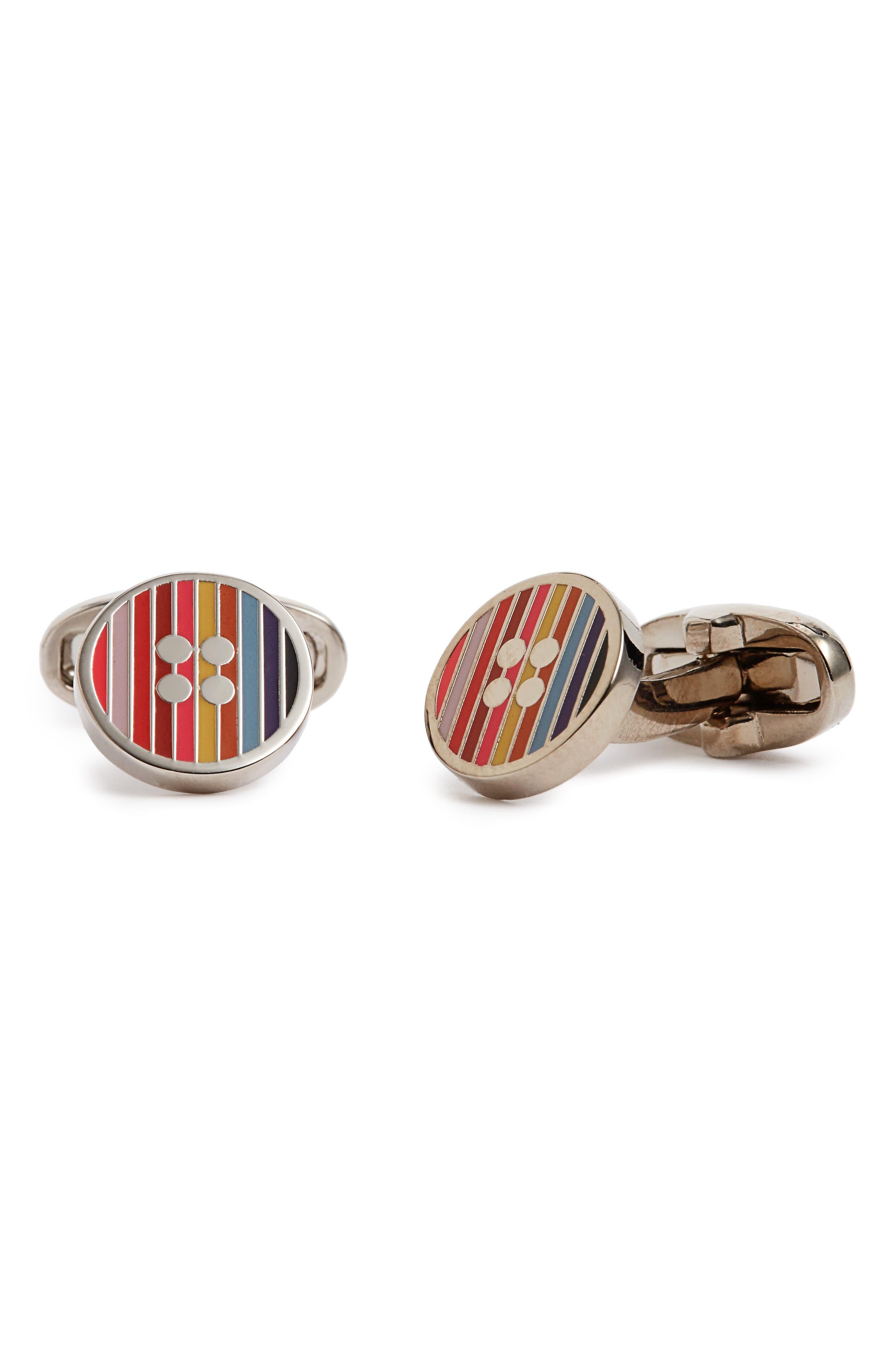 Stripe Button Cuff Links,                         Main,                         color, Silver Multi