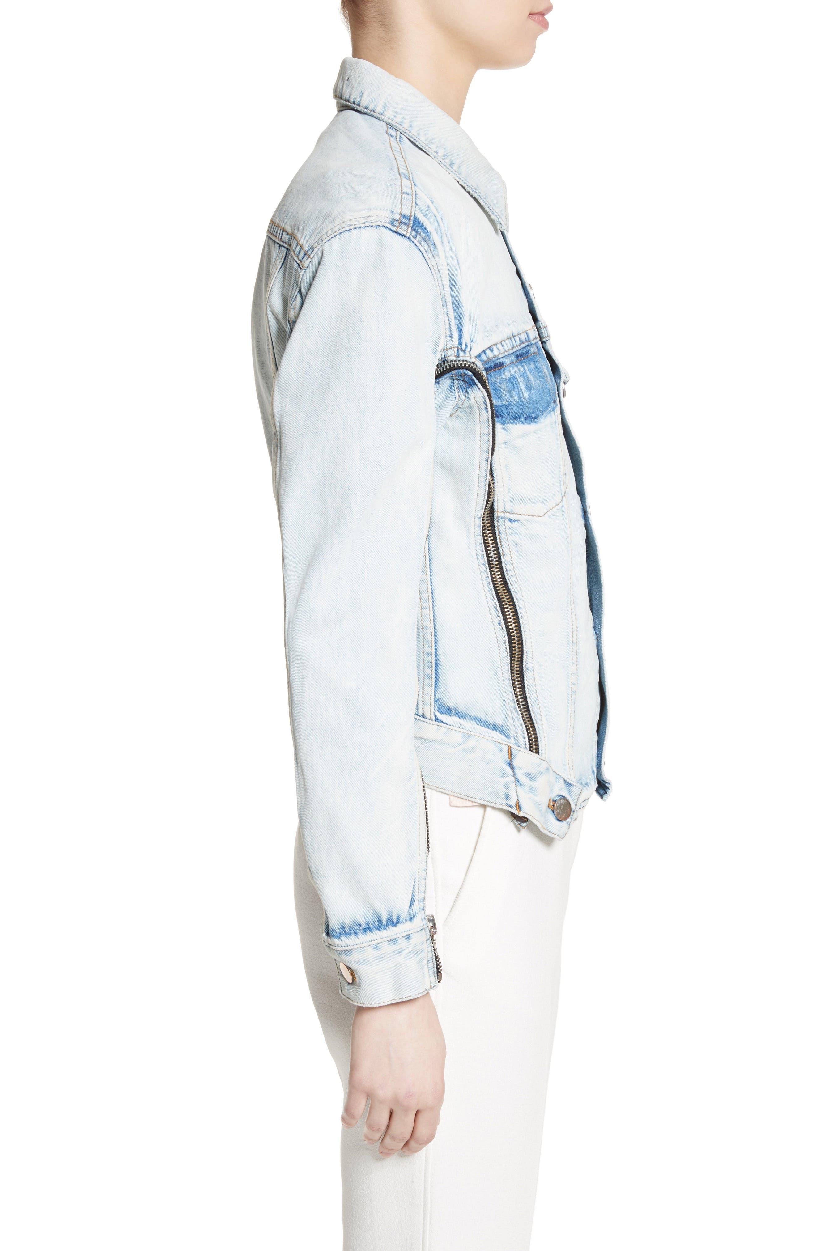 Zipper Detail Denim Jacket,                             Alternate thumbnail 3, color,                             Indigo