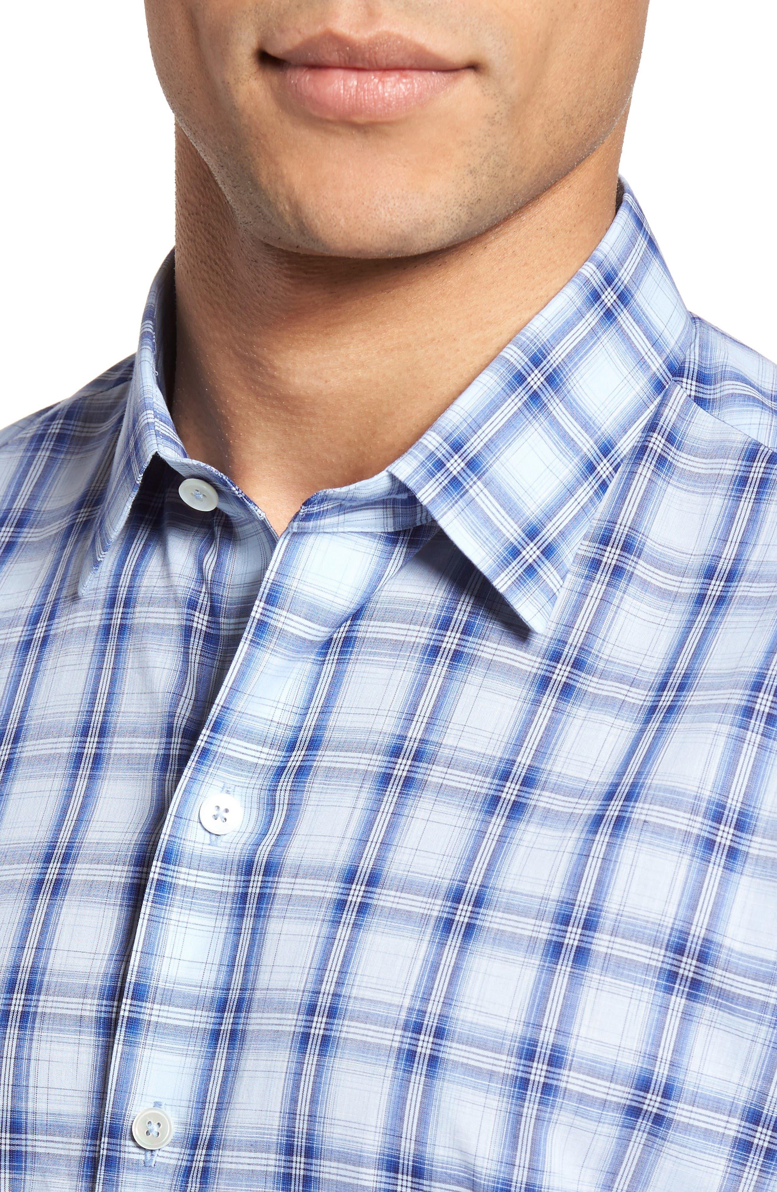 Hwang Trim Fit Plaid Sport Shirt,                             Alternate thumbnail 4, color,                             Pale Blue