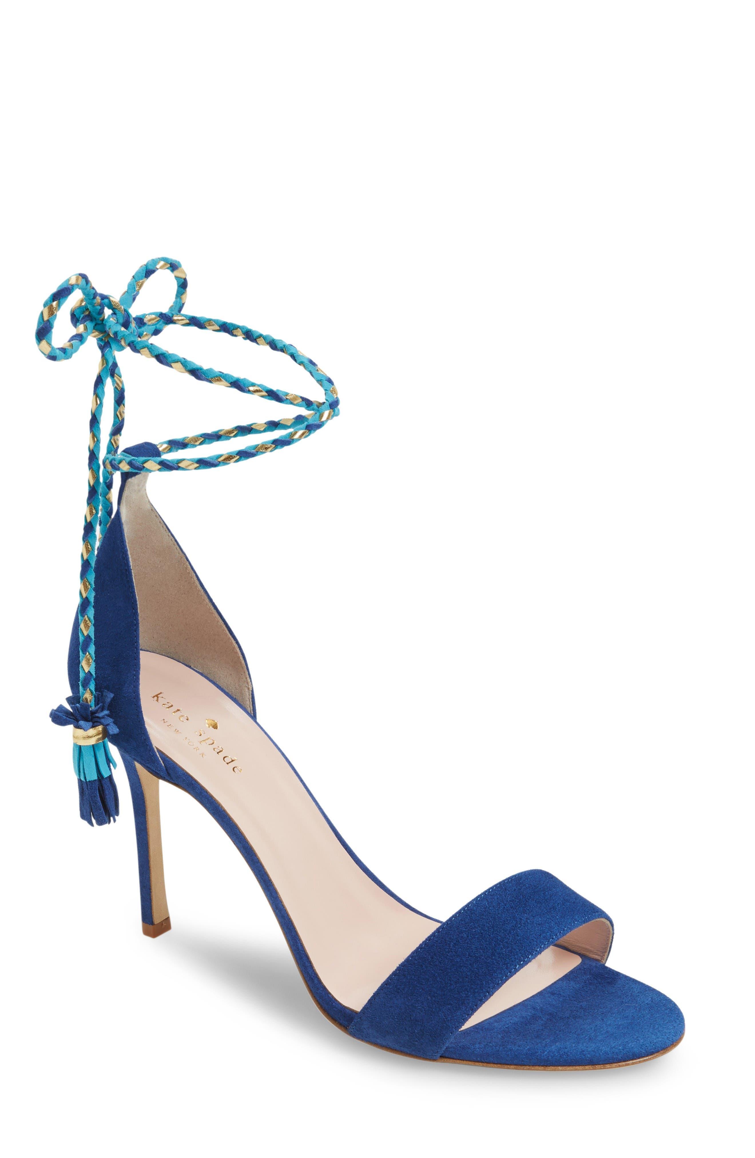inez wraparound sandal,                         Main,                         color, Cobalt Kid Suede