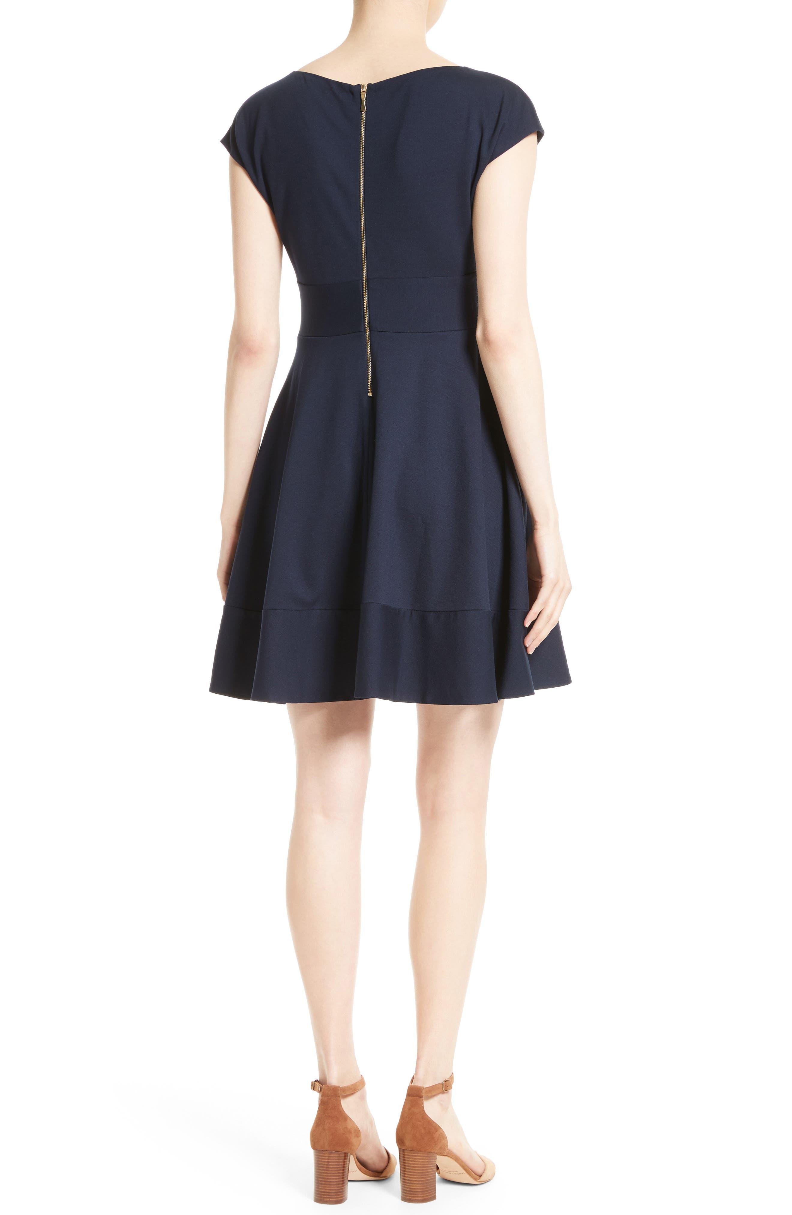 ponte fiorella fit & flare dress,                             Alternate thumbnail 2, color,                             Rich Navy