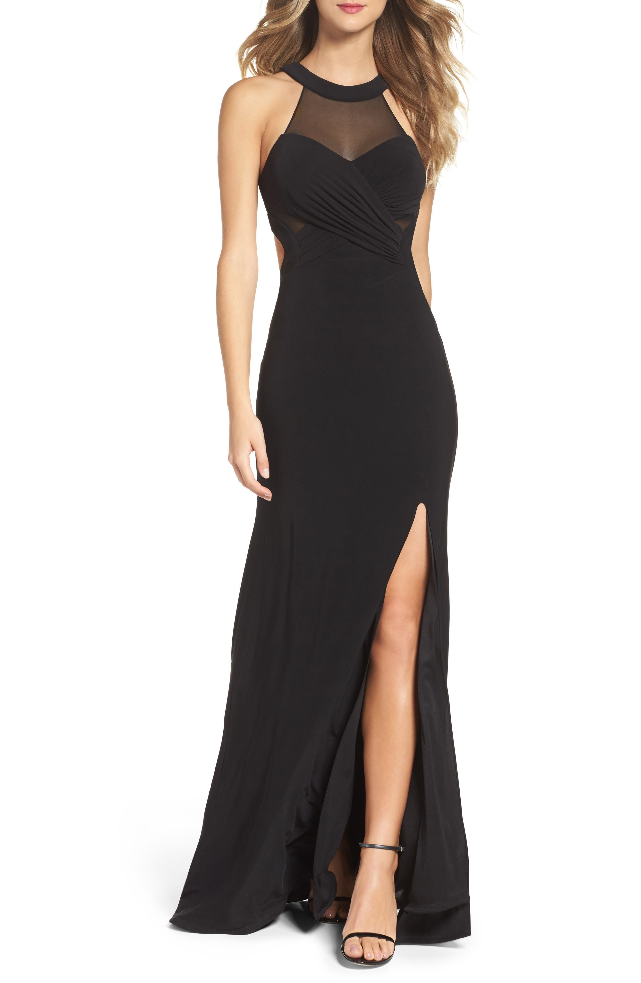 Mesh & Jersey Gown,                         Main,                         color, Black