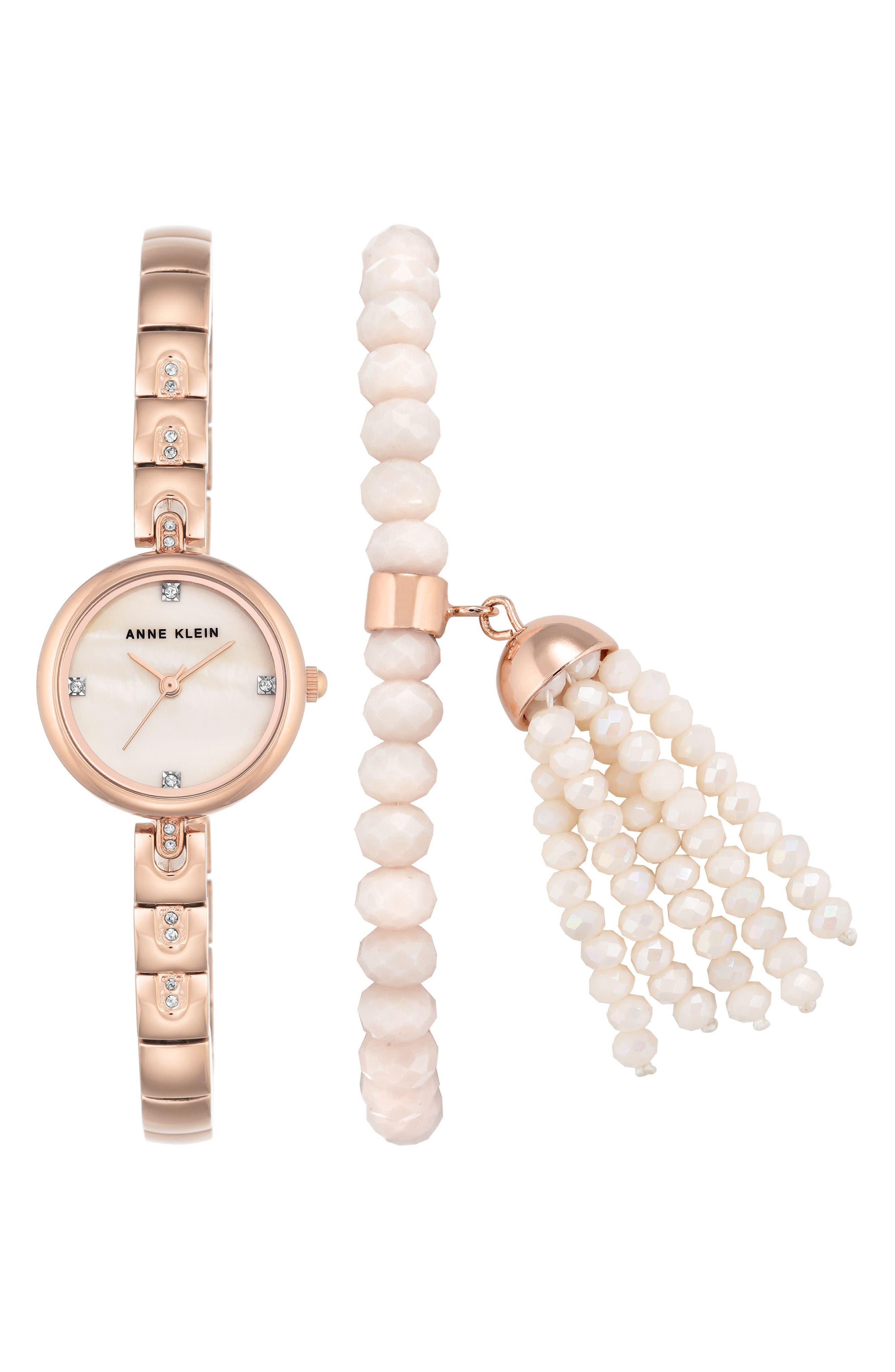 Bracelet Watch Set, 22mm,                             Main thumbnail 1, color,                             Rosegold