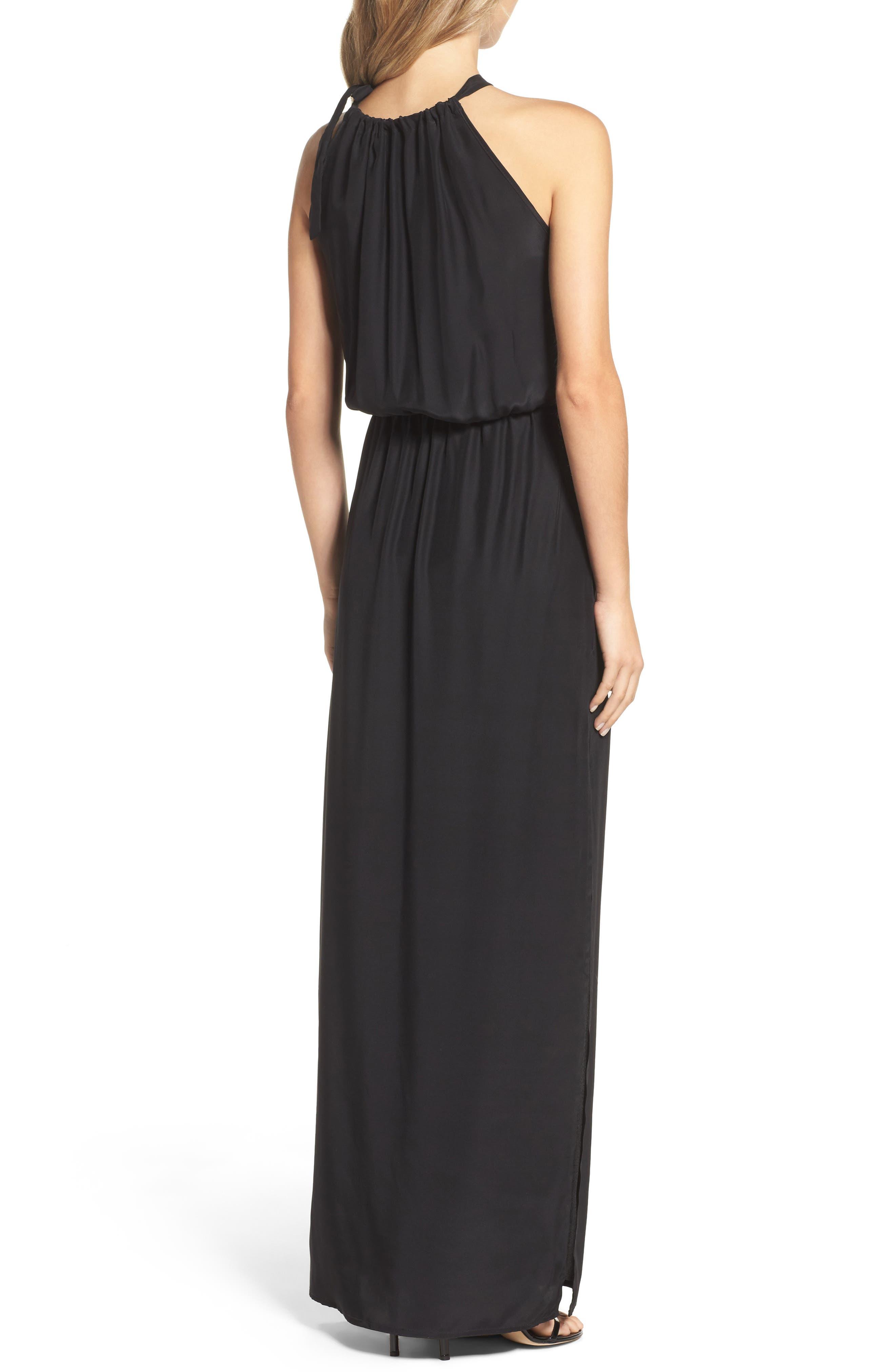 Alternate Image 3  - Natalie Deayala High Neck Silk Column Gown