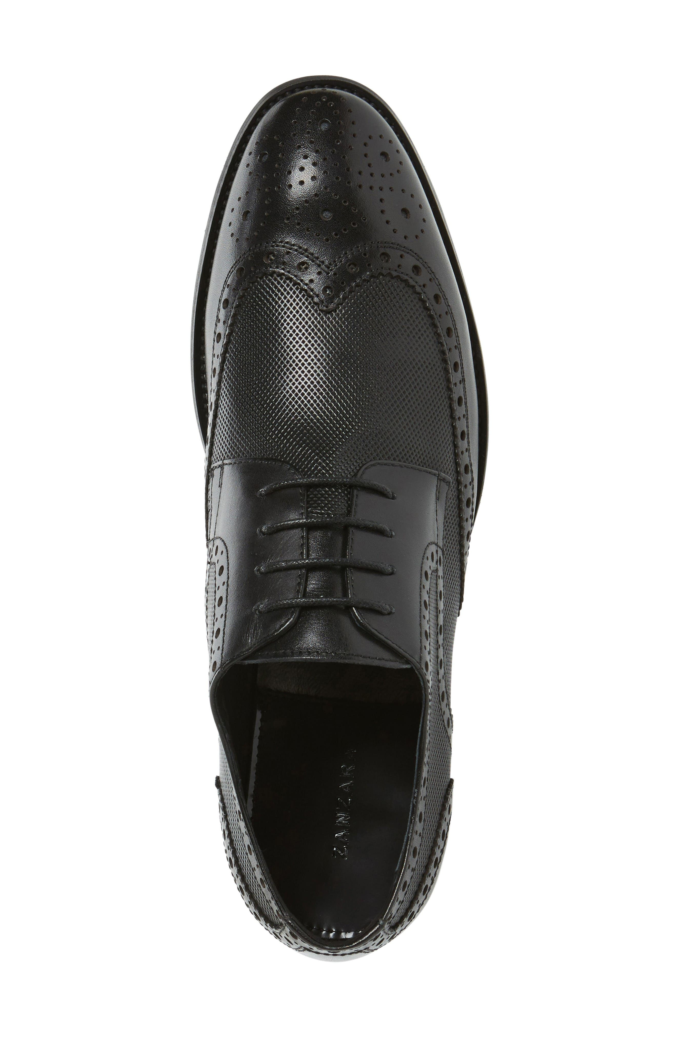 Rossini Wingtip,                             Alternate thumbnail 3, color,                             Black Leather