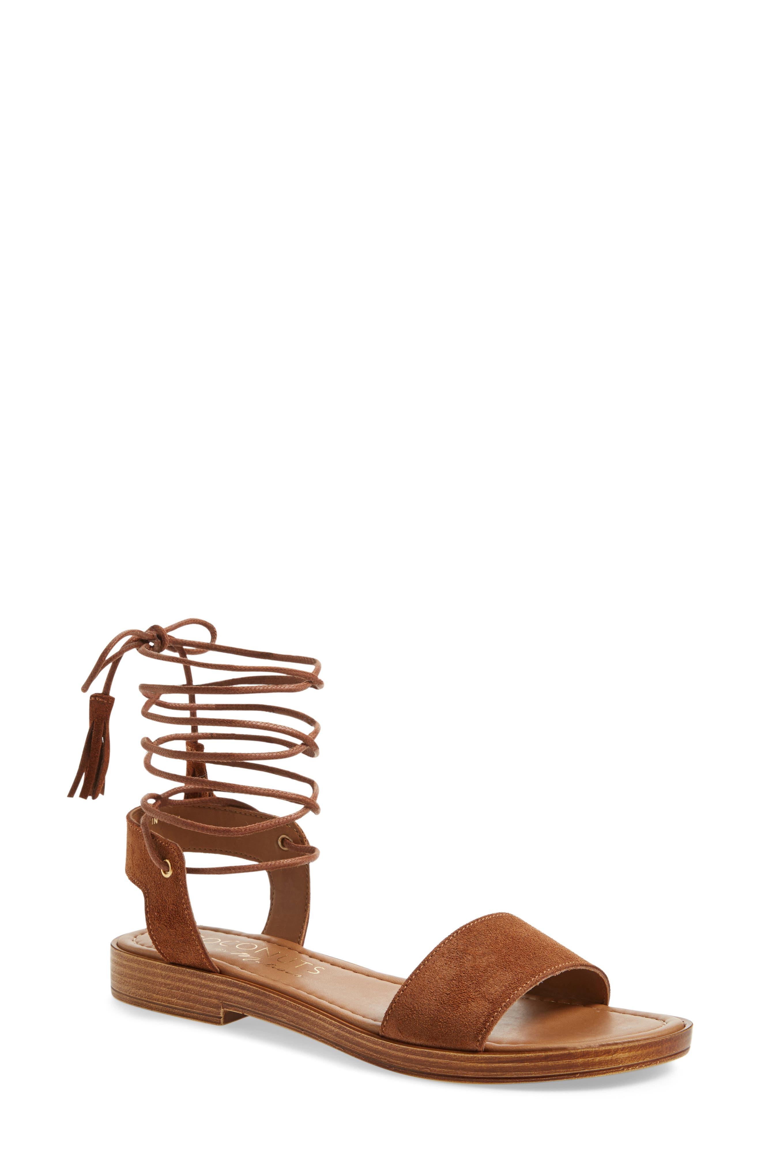 Sting Wraparound Lace Sandal,                         Main,                         color, Saddle Suede